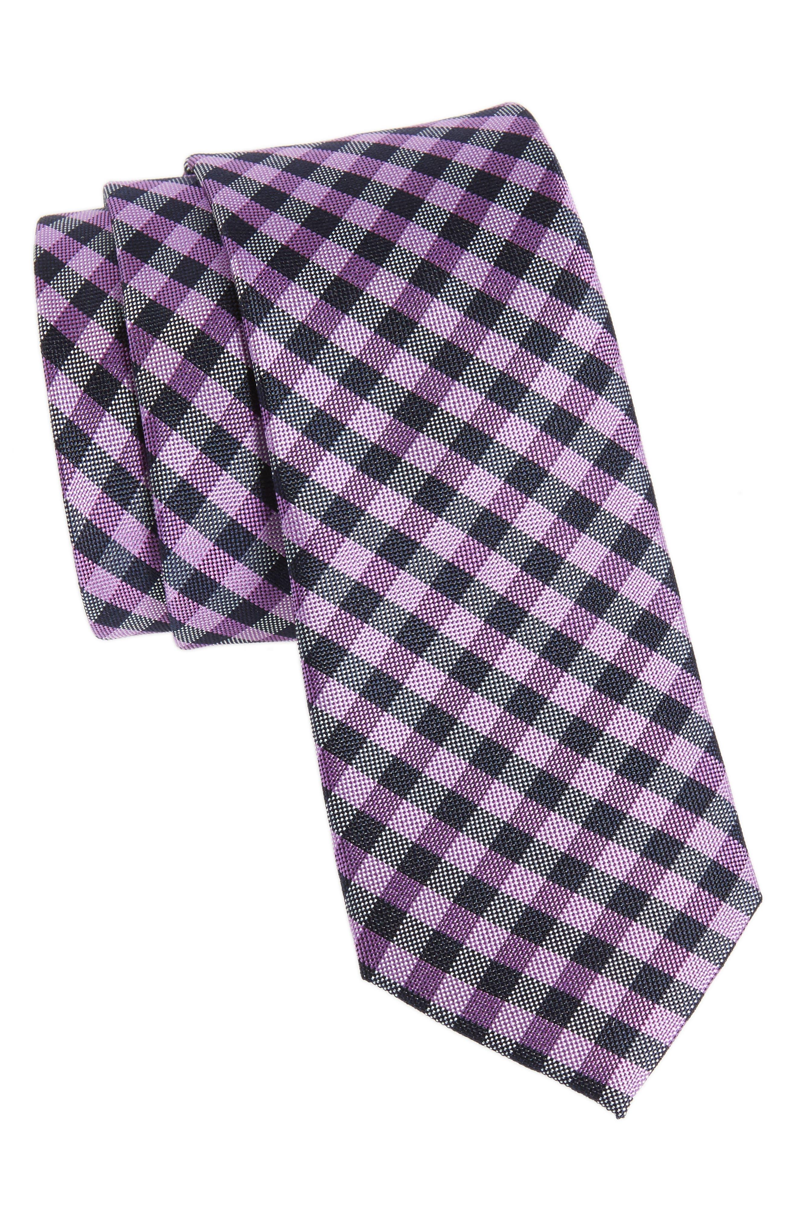 Java Check Silk Tie,                         Main,                         color, Purple