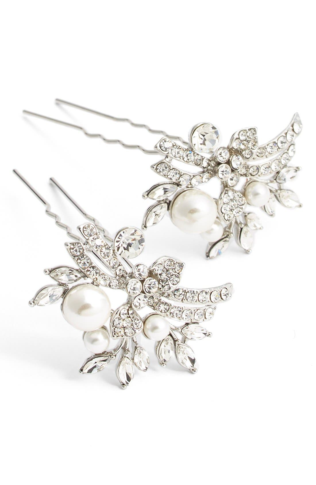 Main Image - Nina Pearly Crystal Hairpins (Set of 2)