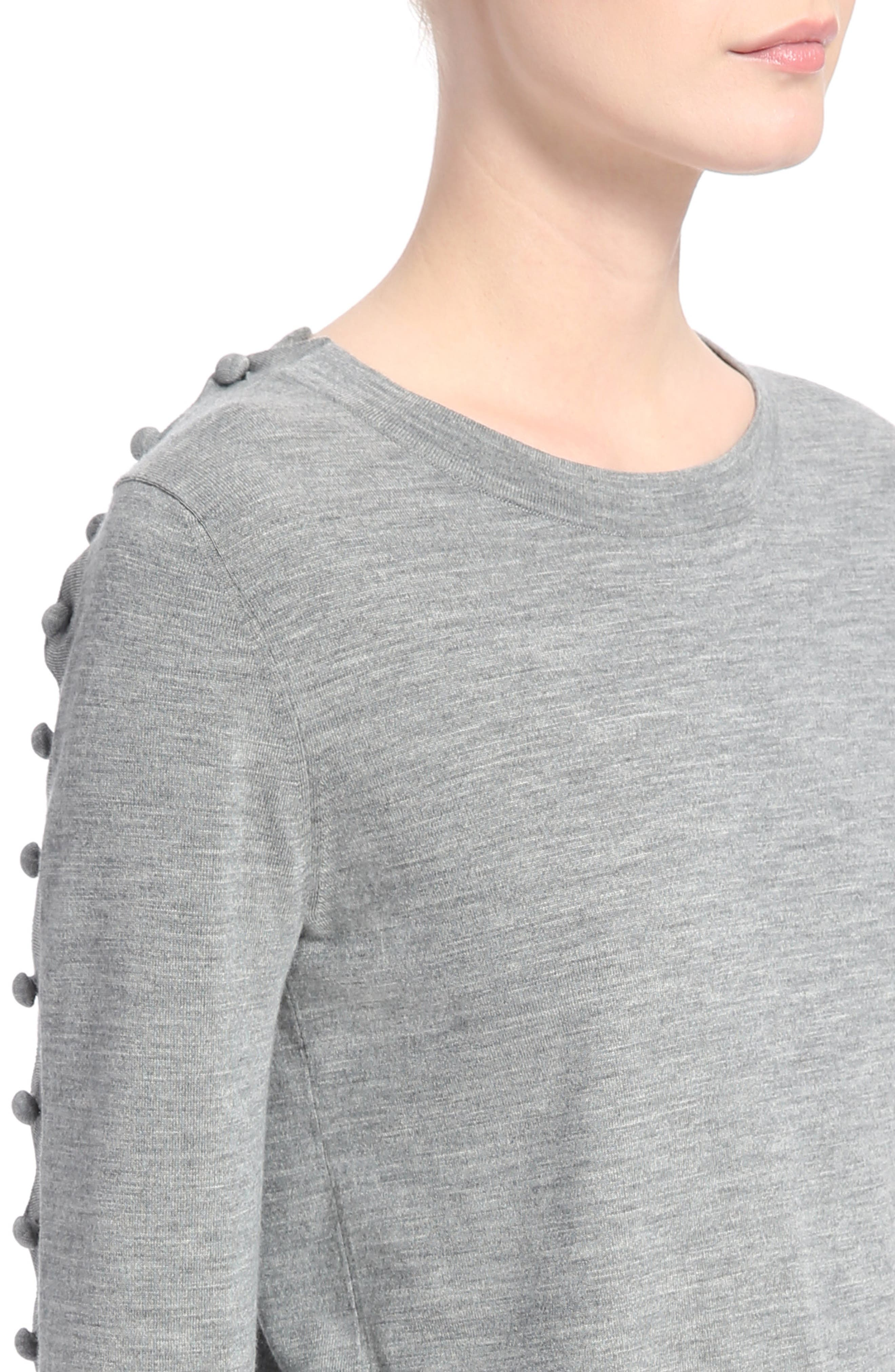 Button Shoulder Wool Sweater,                             Alternate thumbnail 4, color,                             Cozy Grey