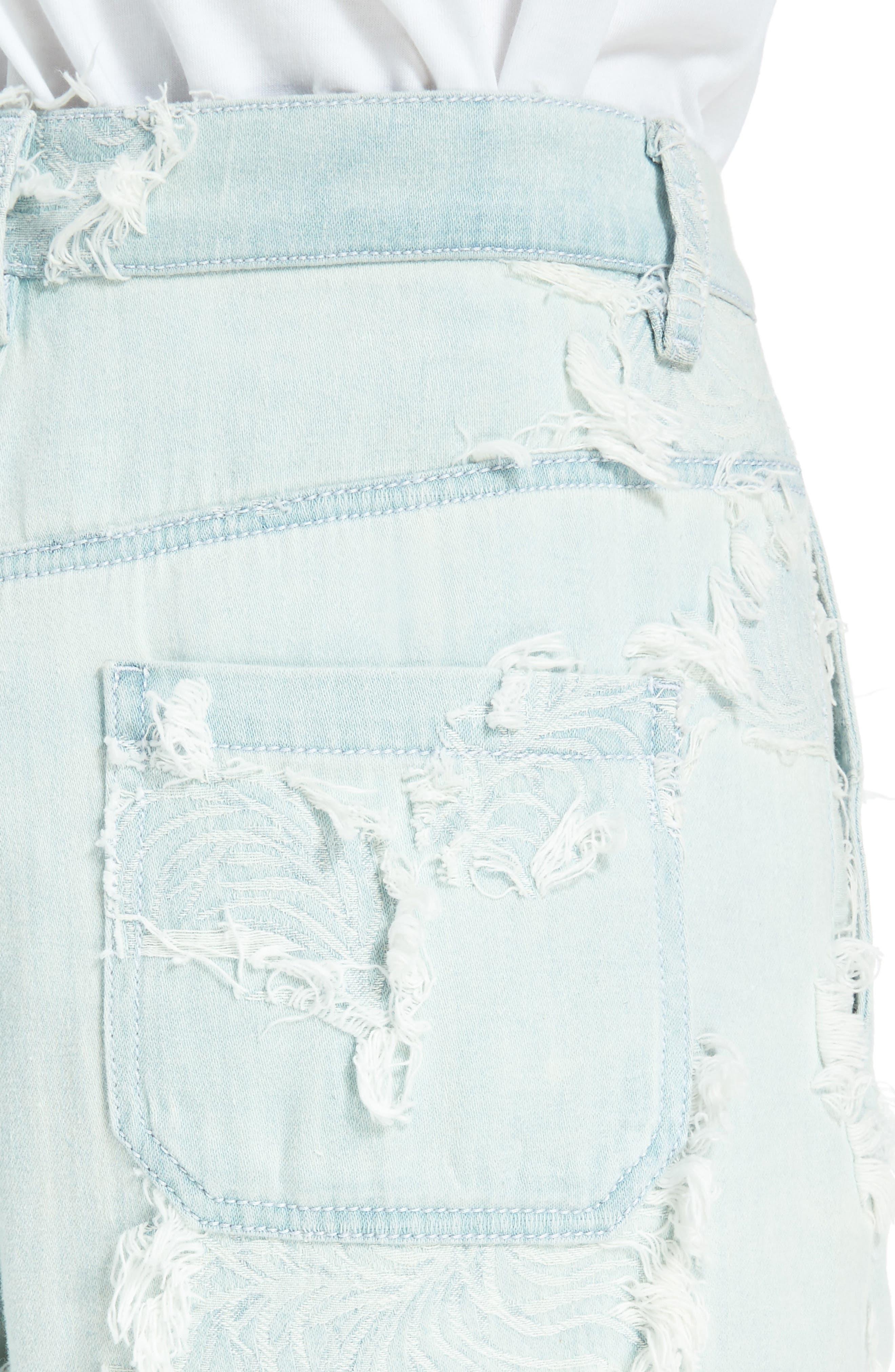 Feather Detail Wide Leg Jeans,                             Alternate thumbnail 4, color,                             Misty Blue