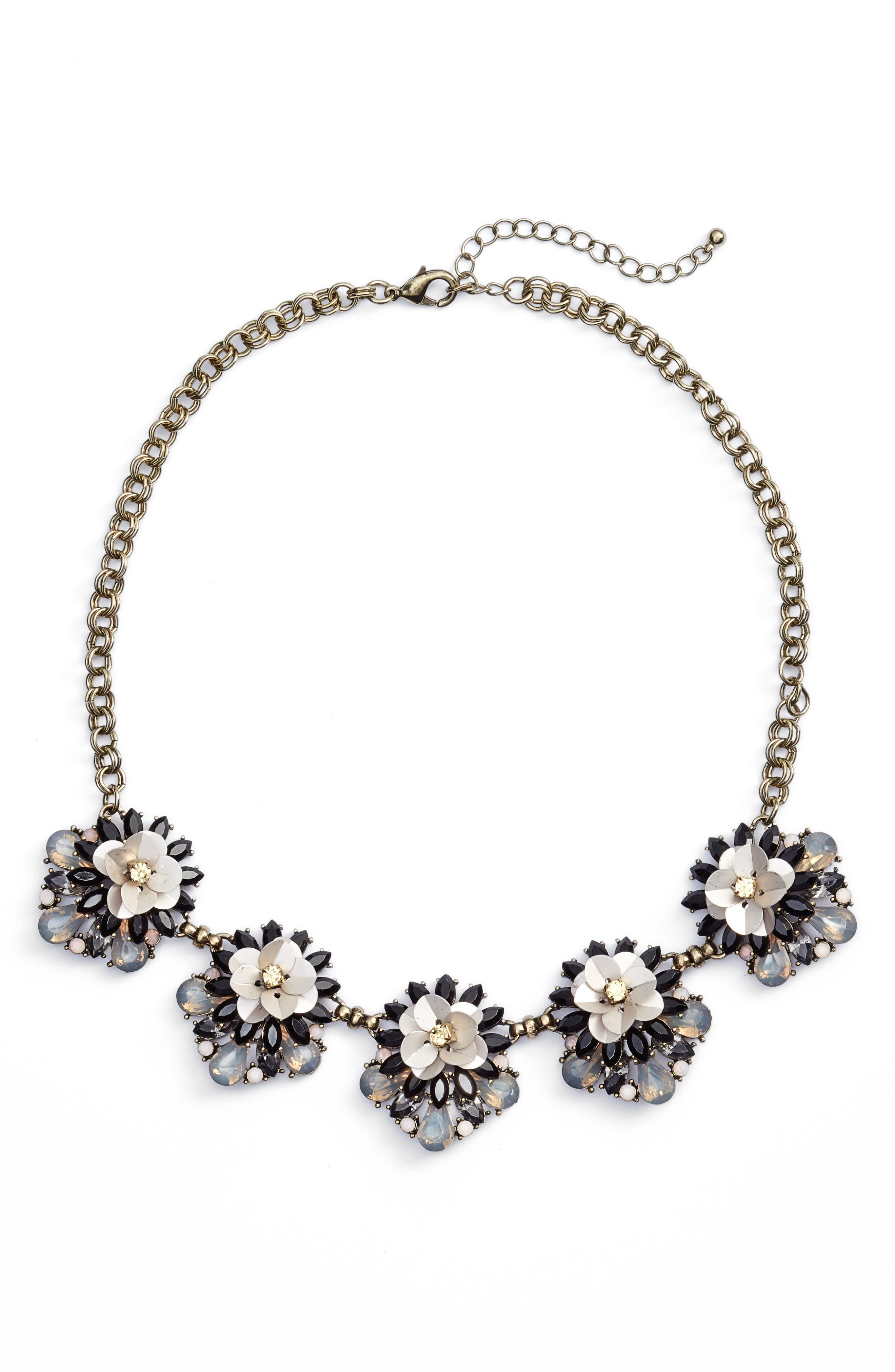 Main Image - Sole Society Floral Cluster Statement Necklace