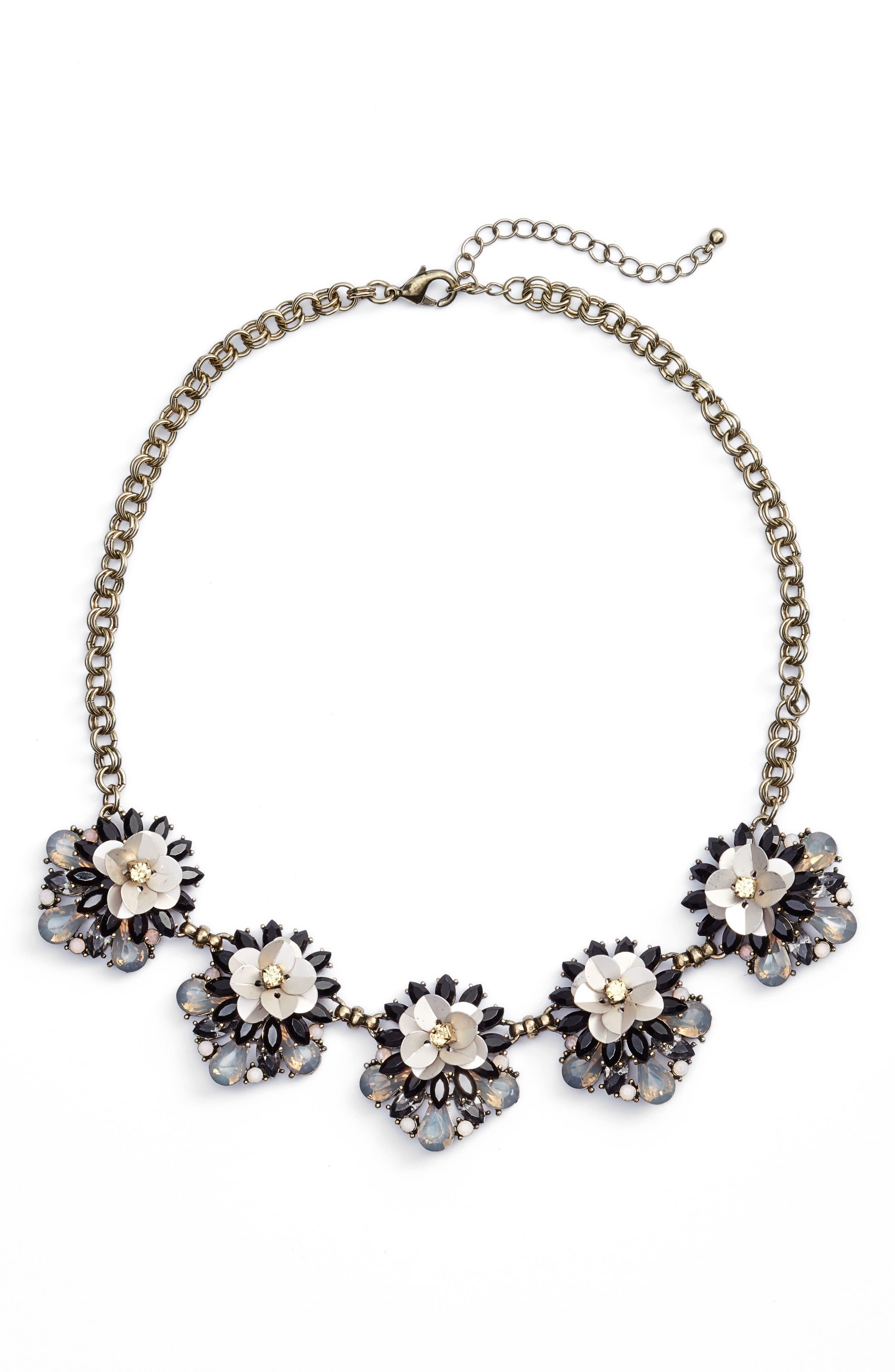 Floral Cluster Statement Necklace,                         Main,                         color, Bronze/ Multi