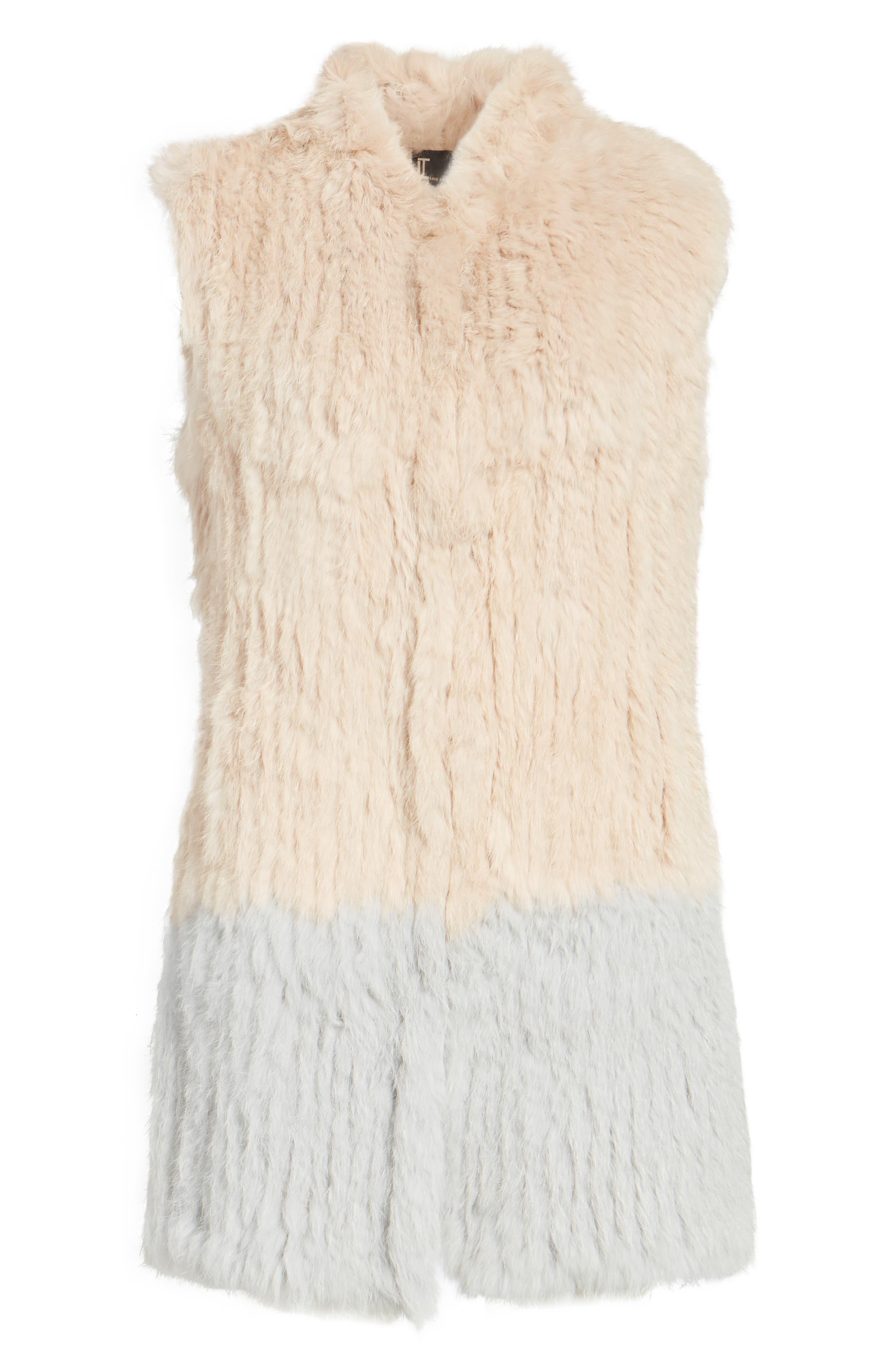Clean Colorblock Genuine Rabbit Fur Vest,                             Alternate thumbnail 6, color,                             Blush/ Grey
