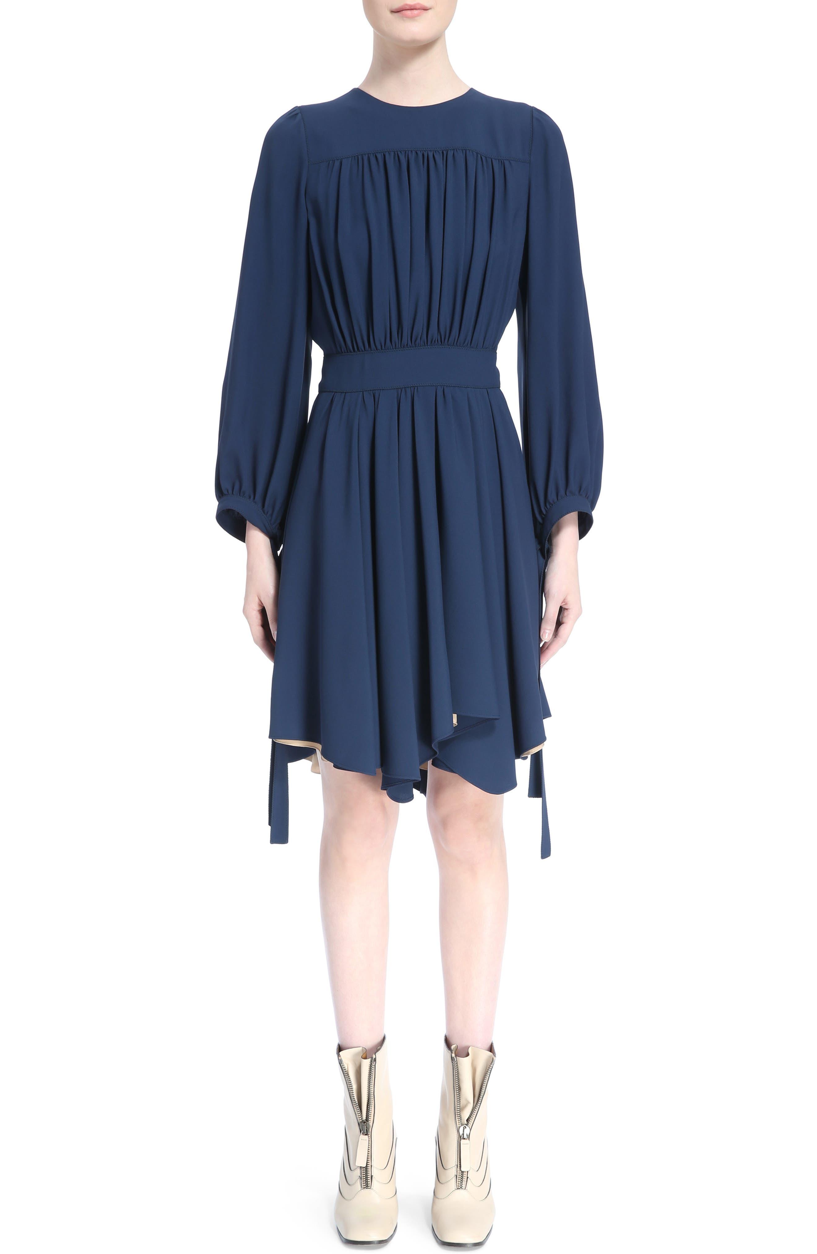 Pleated Tie Cuff Cady Dress,                         Main,                         color, Dark Denim