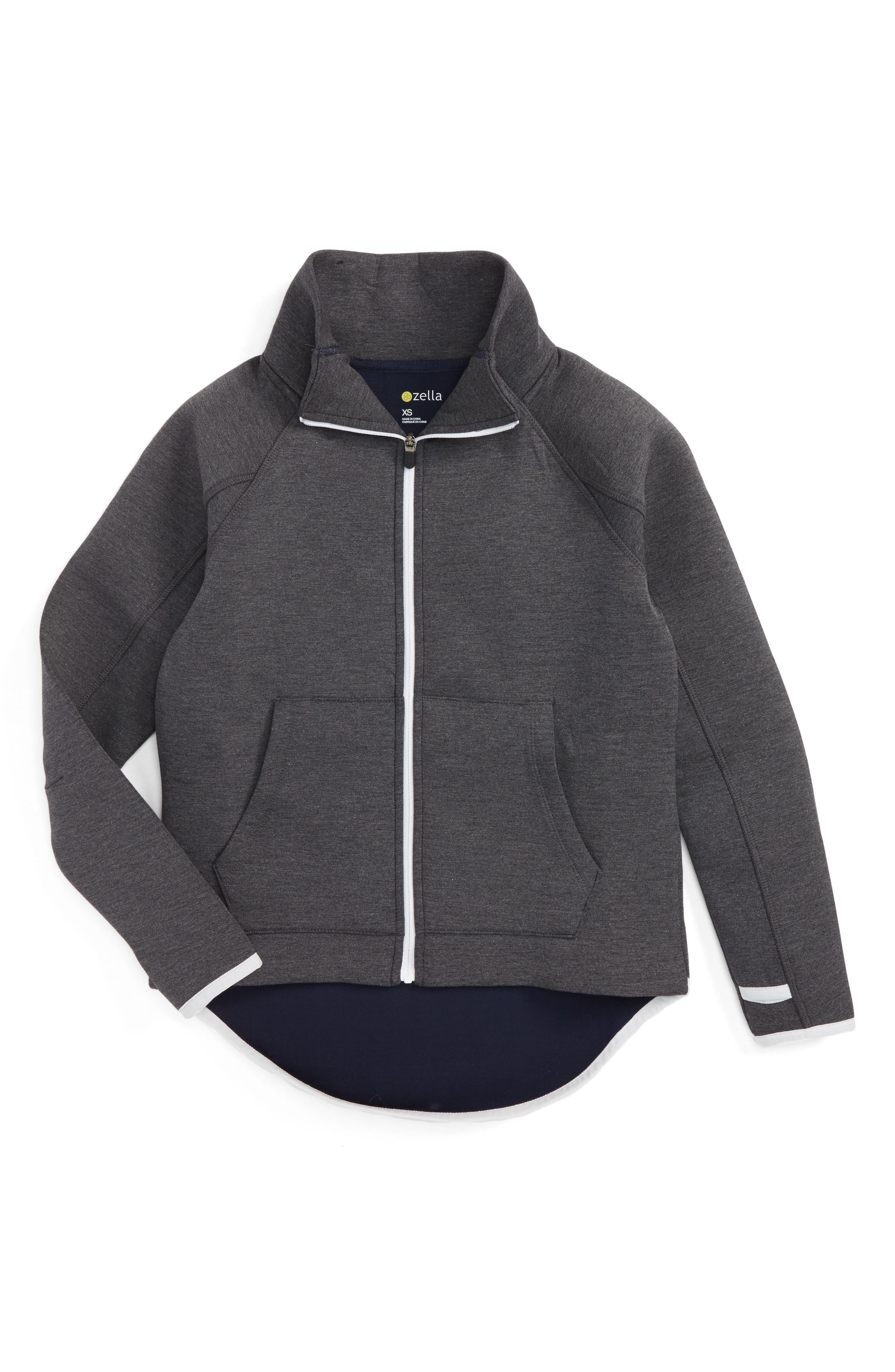 Raglan Sleeve Zip-Up Jacket,                         Main,                         color, Grey Medium Charcoal Heather