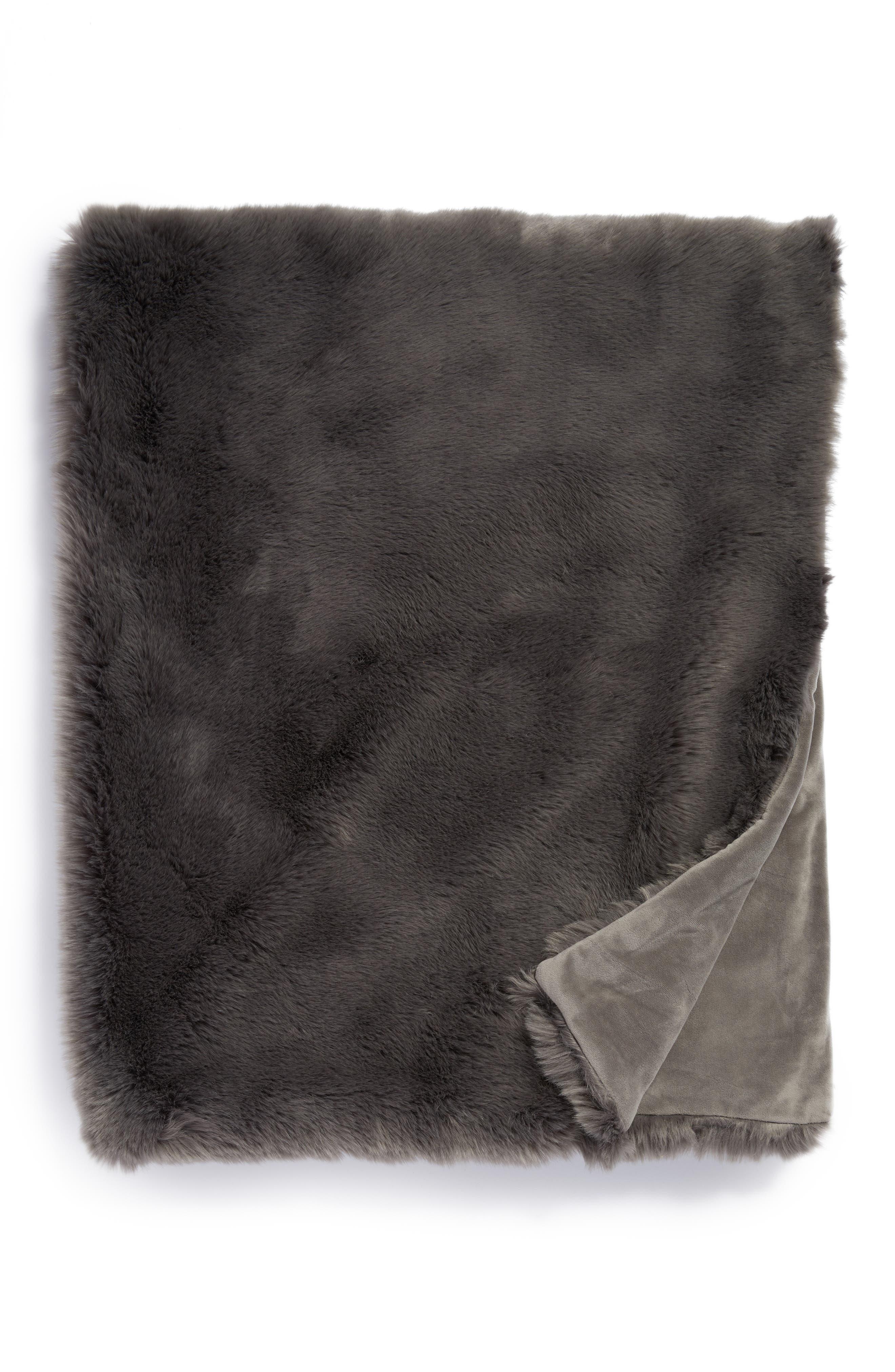 Cuddle Up Faux Fur Throw Blanket,                         Main,                         color, Grey Asphalt