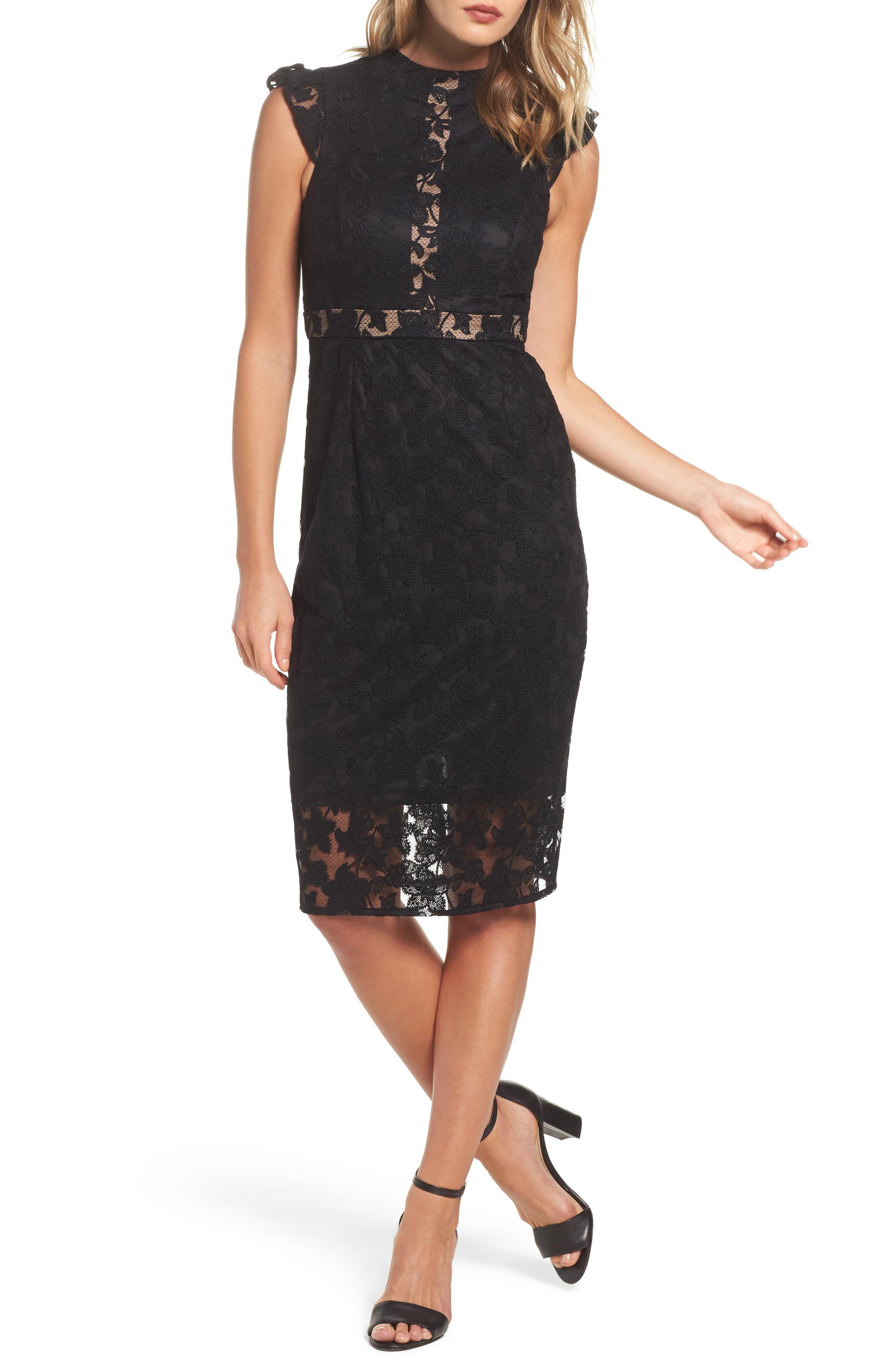 Salmone Lace Sheath Dress,                             Main thumbnail 1, color,                             Black/ Nude