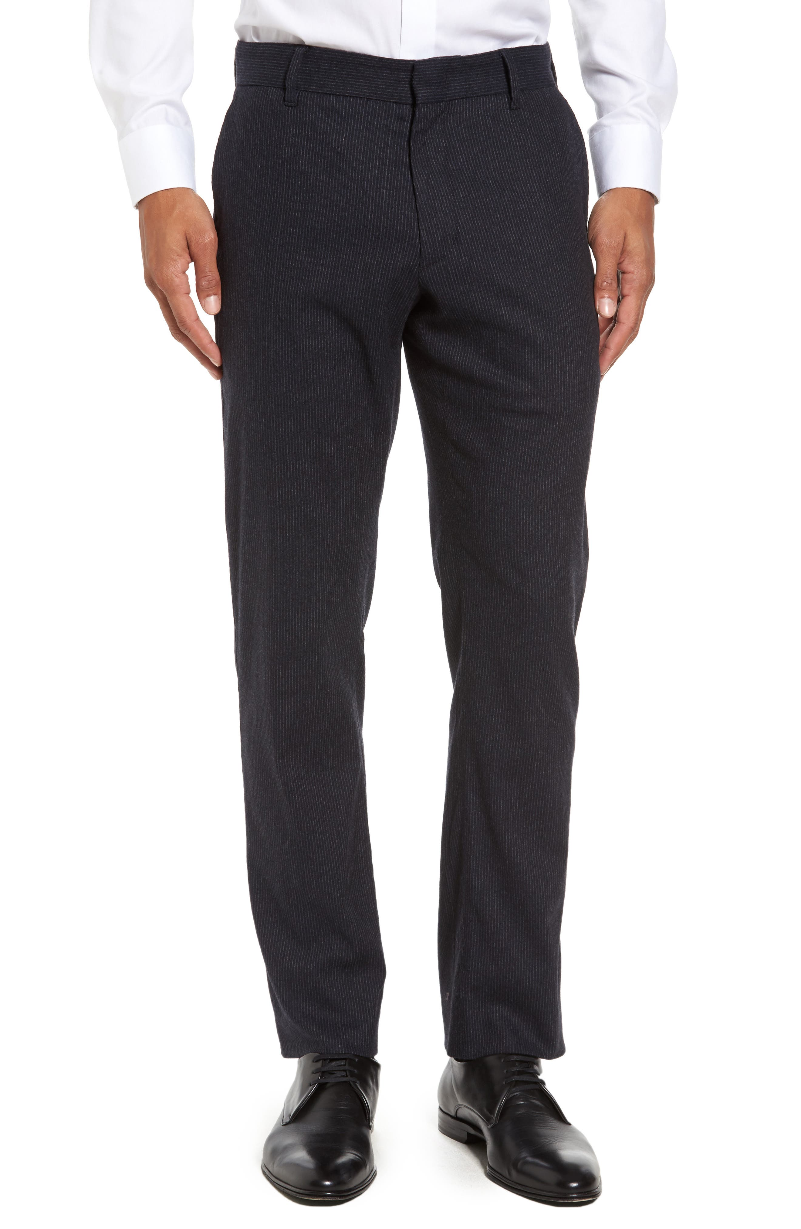 Rushmore Pinstripe Stretch Wool Blend Trousers,                             Main thumbnail 1, color,                             Navy