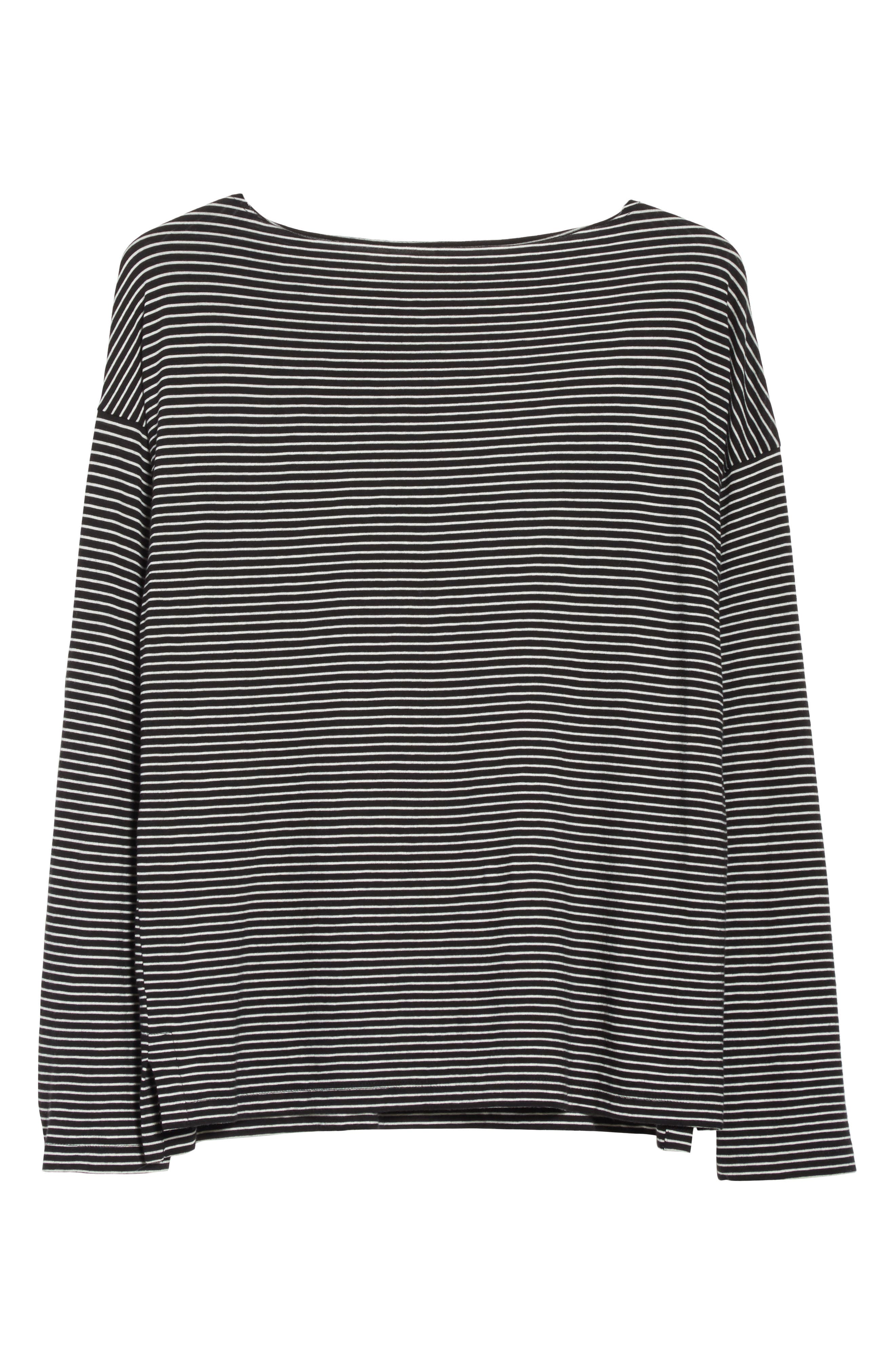 Stripe Boatneck Tee,                             Alternate thumbnail 6, color,                             Black/ Vanilla