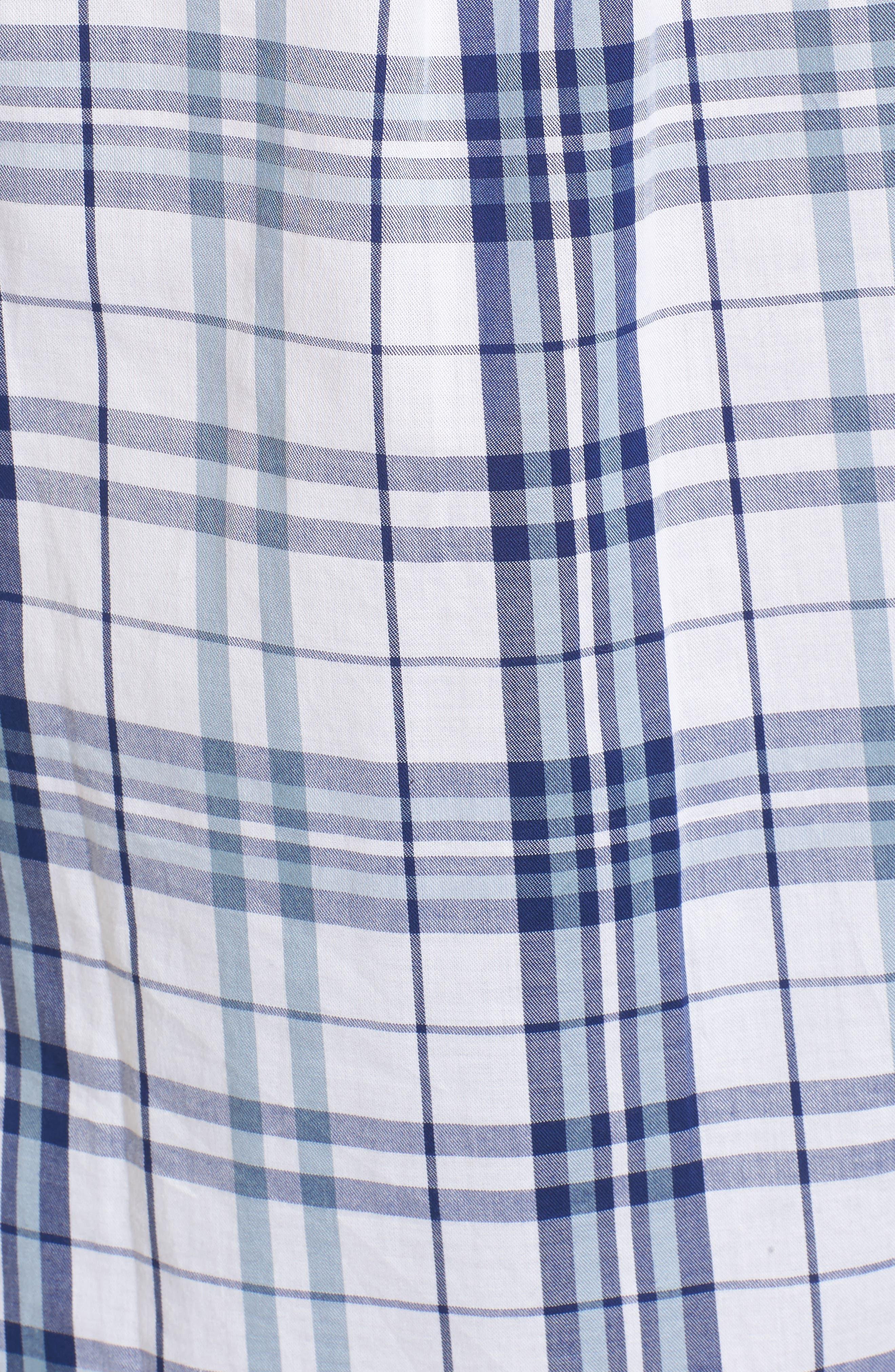 Selsey Plaid Shirt,                             Alternate thumbnail 5, color,                             White/ Coastal Blue