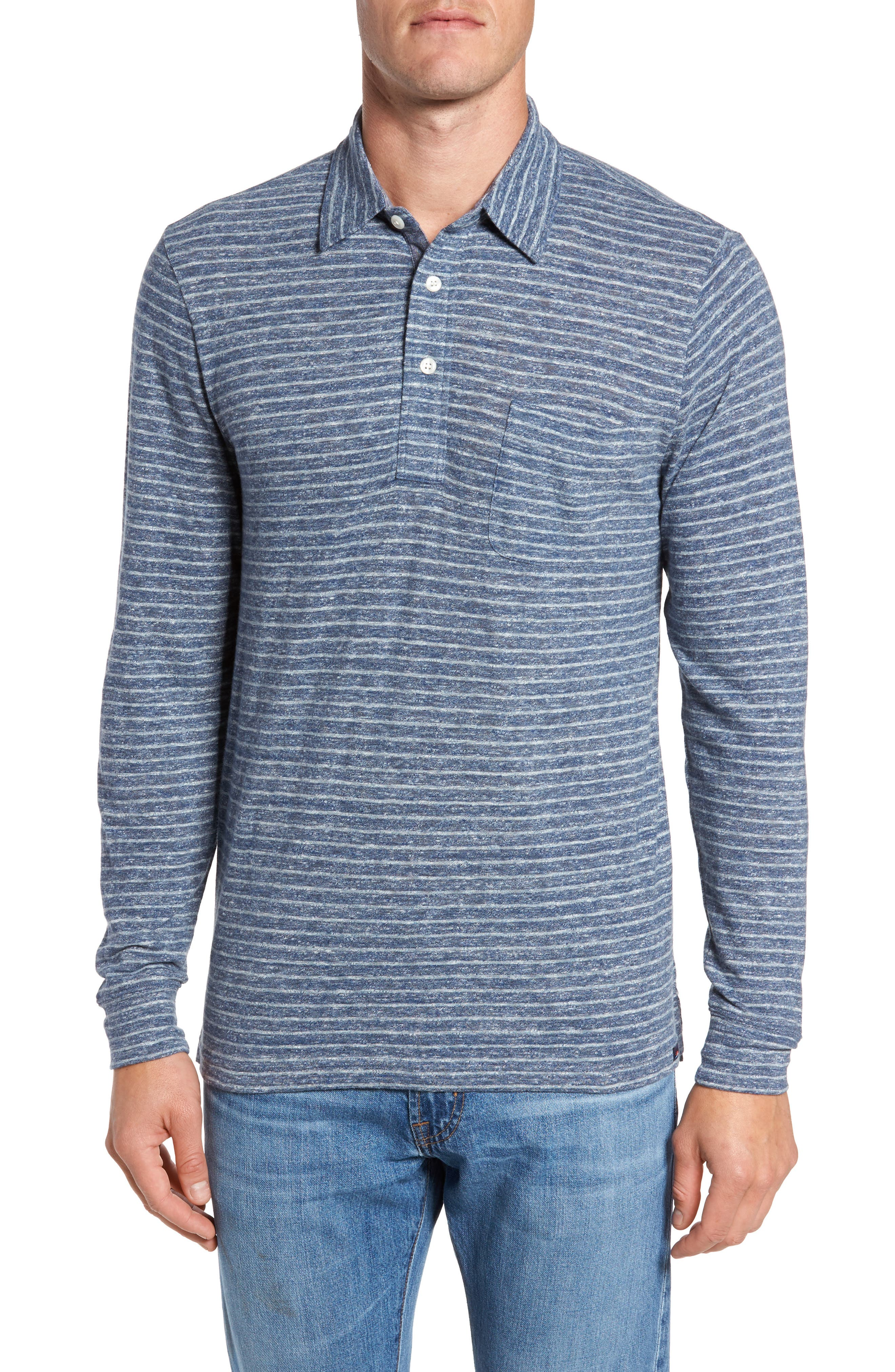 Alternate Image 1 Selected - Faherty Stripe Long Sleeve Polo