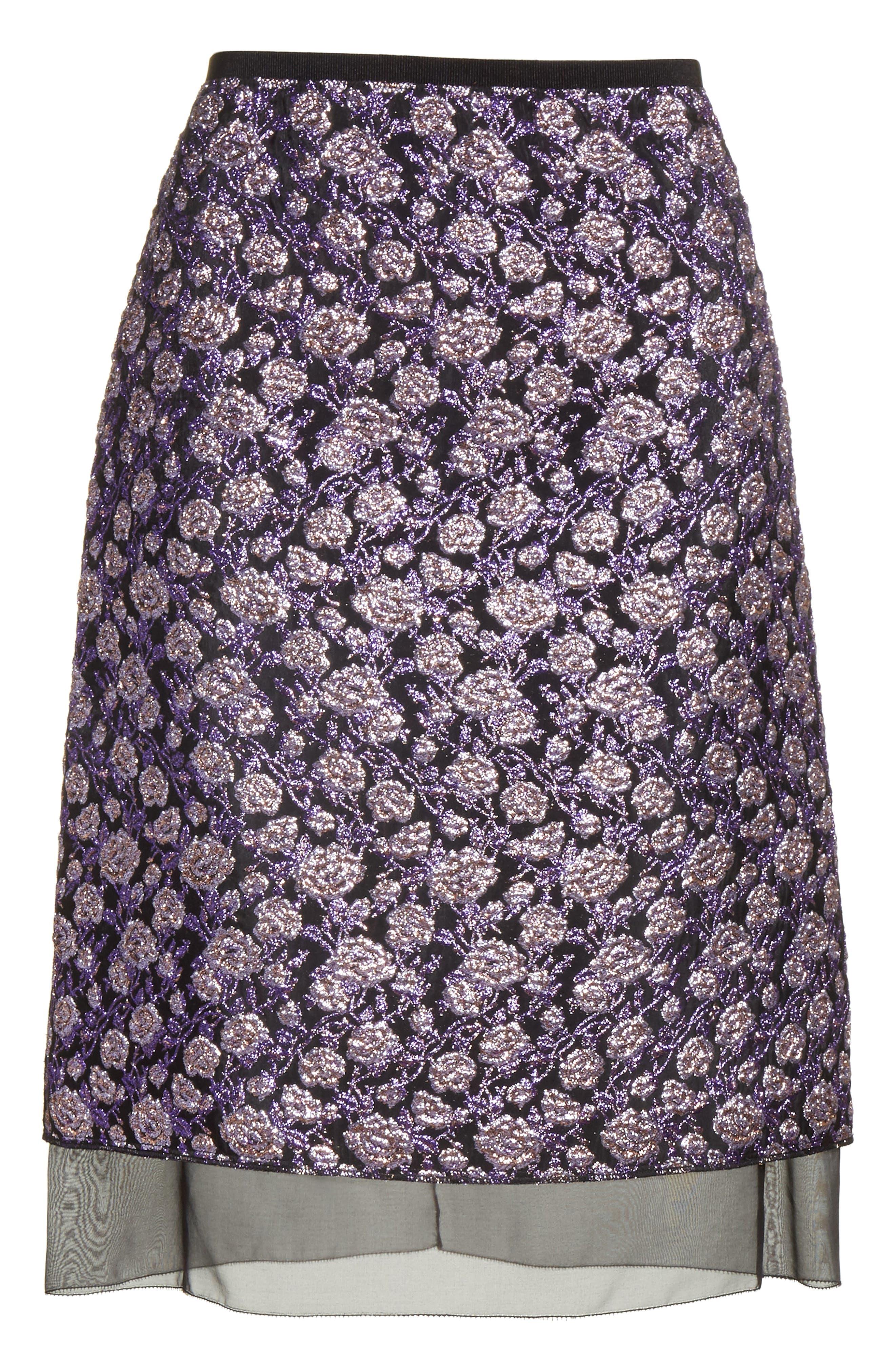 Metallic Jacquard Pencil Skirt,                             Alternate thumbnail 6, color,                             Purple Multi