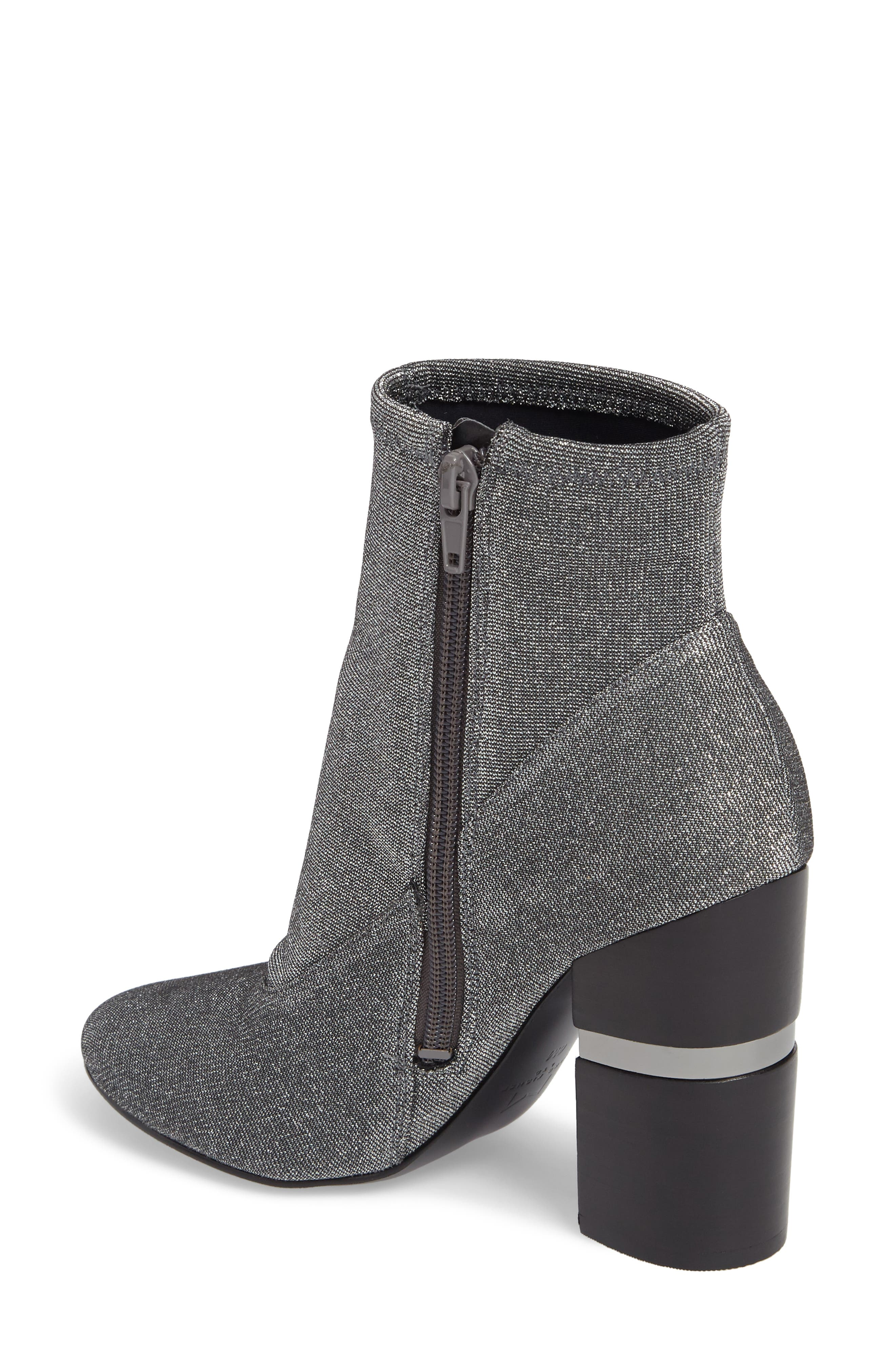 Padda Embellished Stretch Bootie,                             Alternate thumbnail 2, color,                             Silver Glitter Fabric