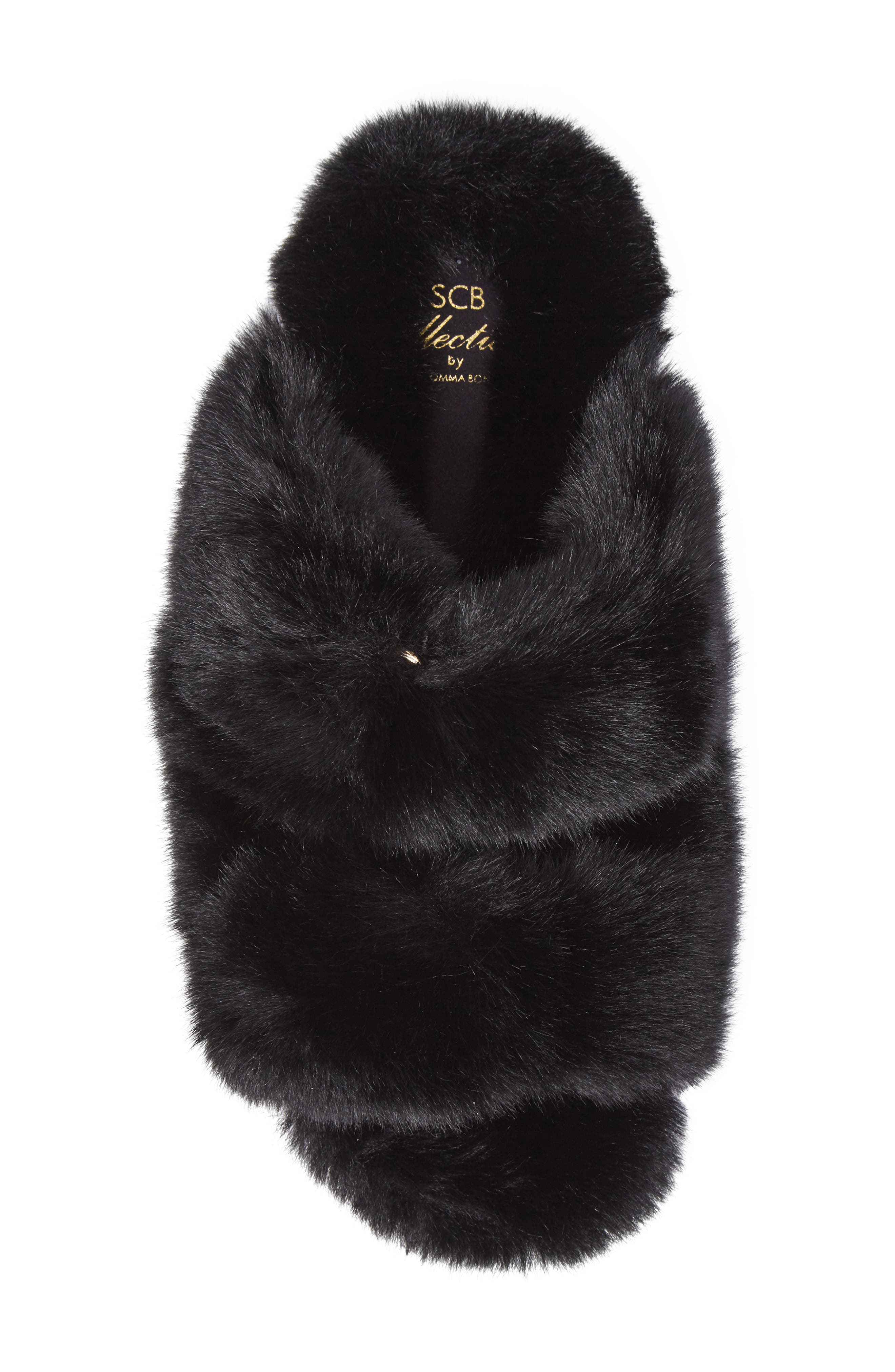 Faux Fur Sandal,                             Alternate thumbnail 5, color,                             Black