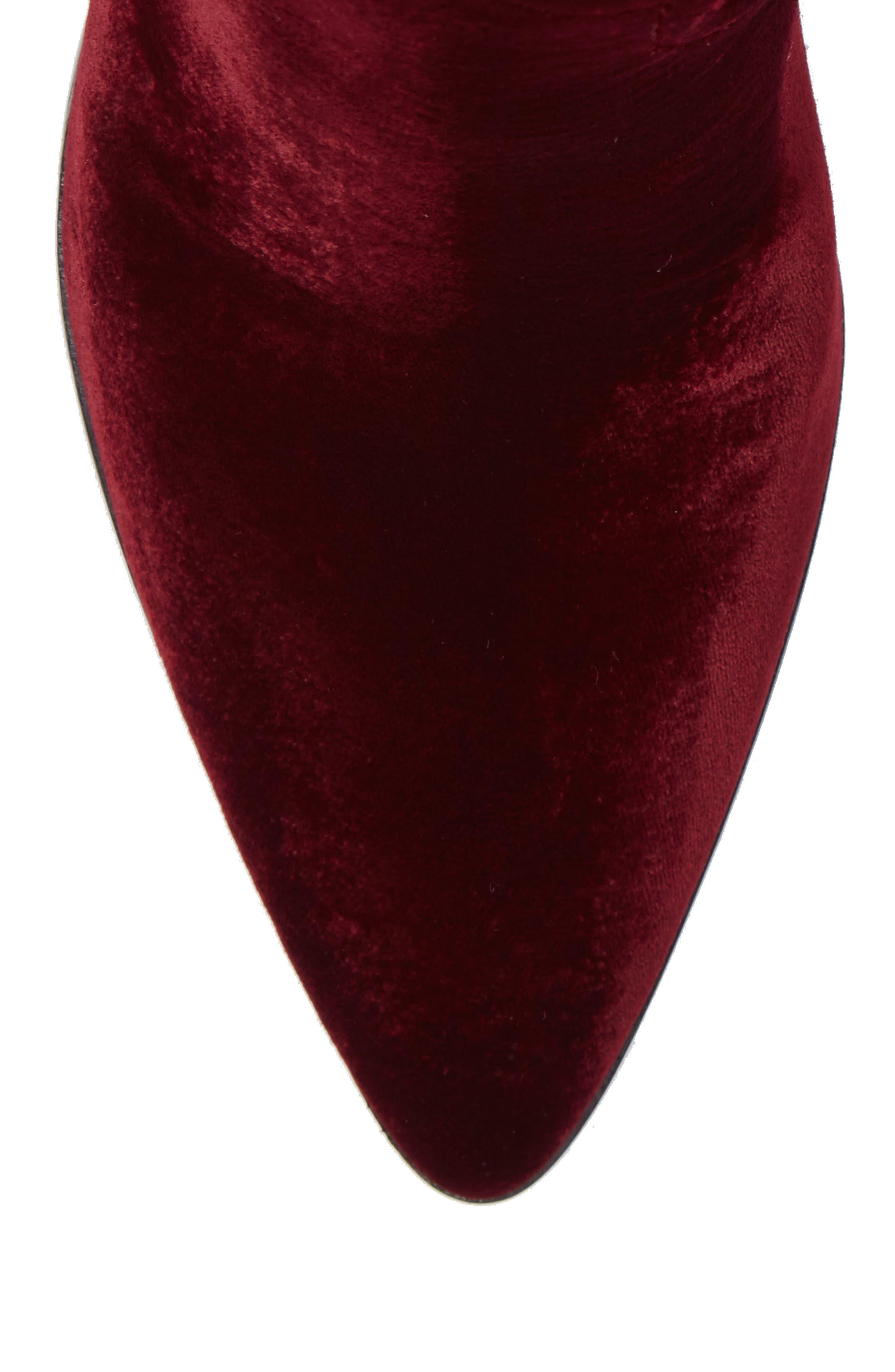 Flynn Short Velvet Bootie,                             Alternate thumbnail 5, color,                             Wine Fabric