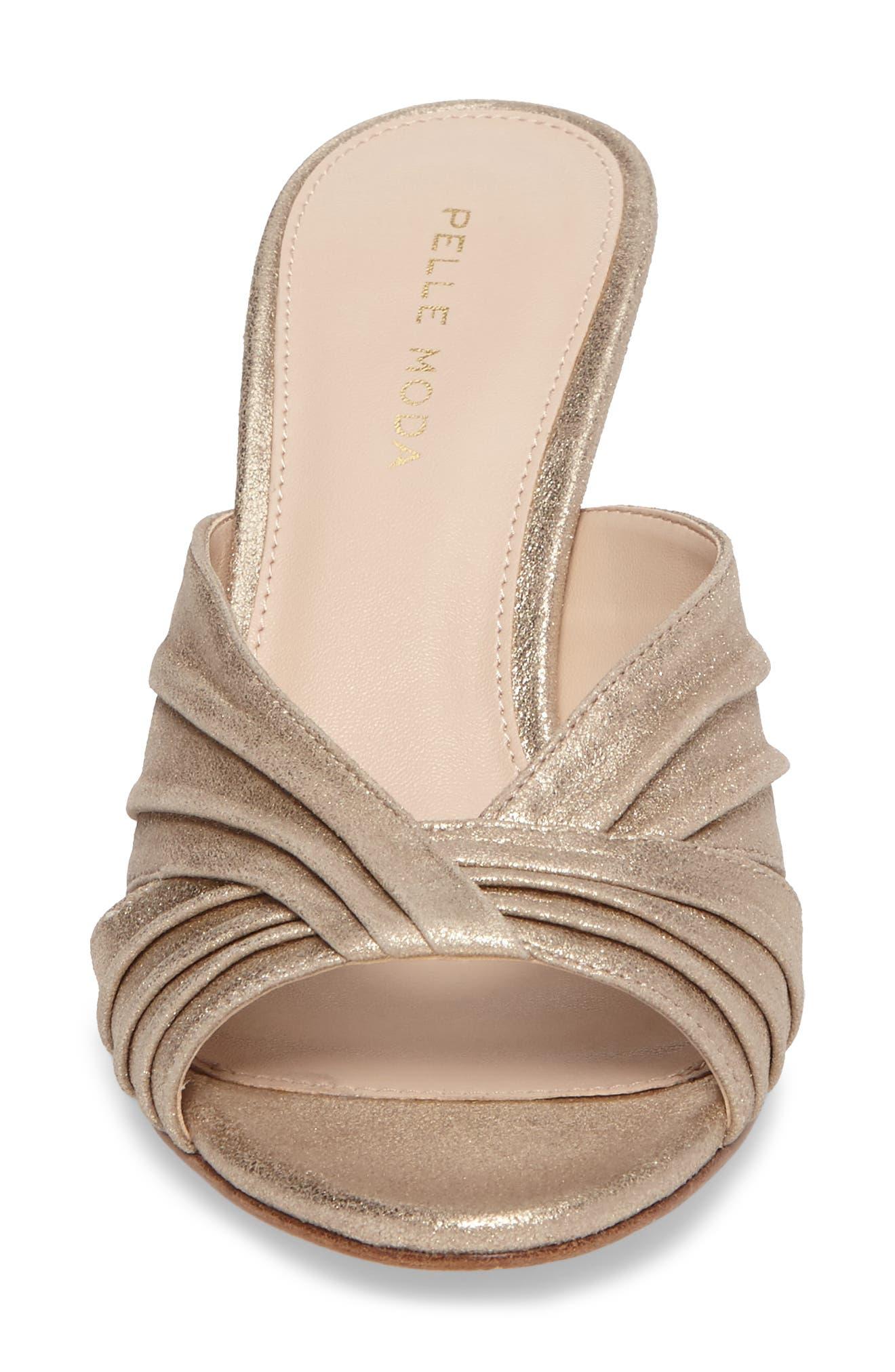 Isla Sandal,                             Alternate thumbnail 4, color,                             Platinum Gold Leather