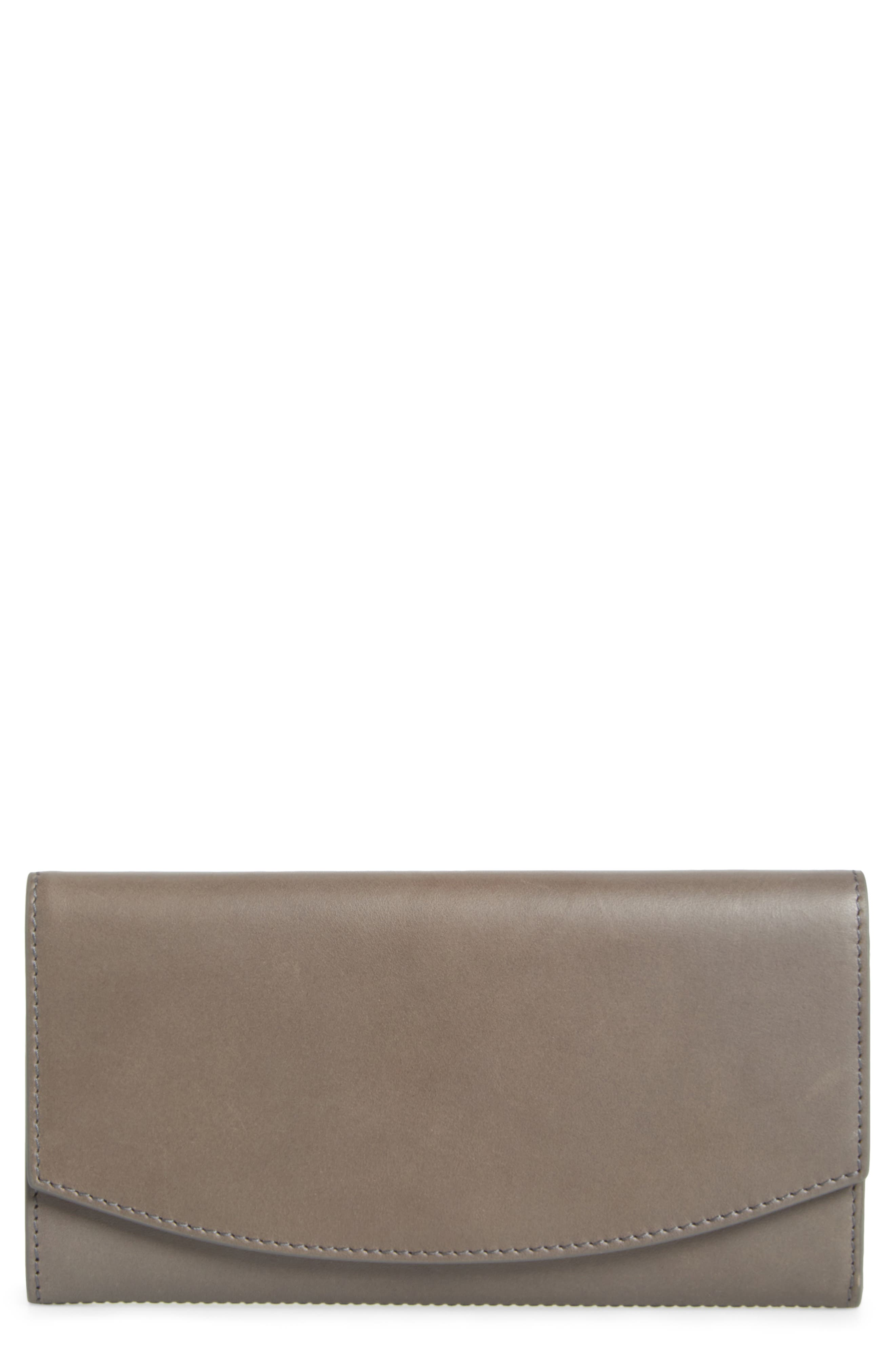 Leather Continental Flap Wallet,                         Main,                         color, Pewter