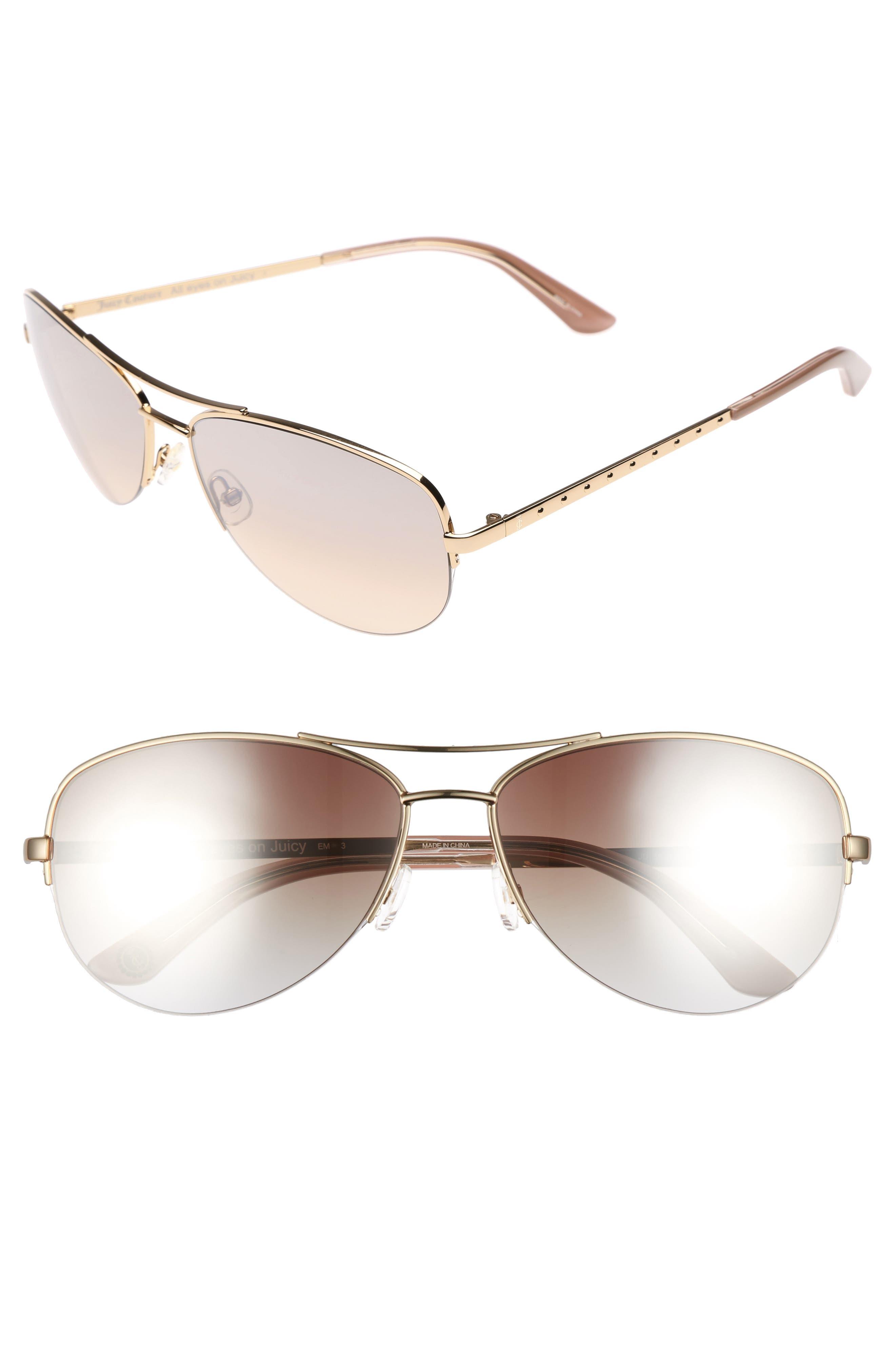 Black Label 60mm Gradient Aviator Sunglasses,                             Main thumbnail 1, color,                             Light Gold
