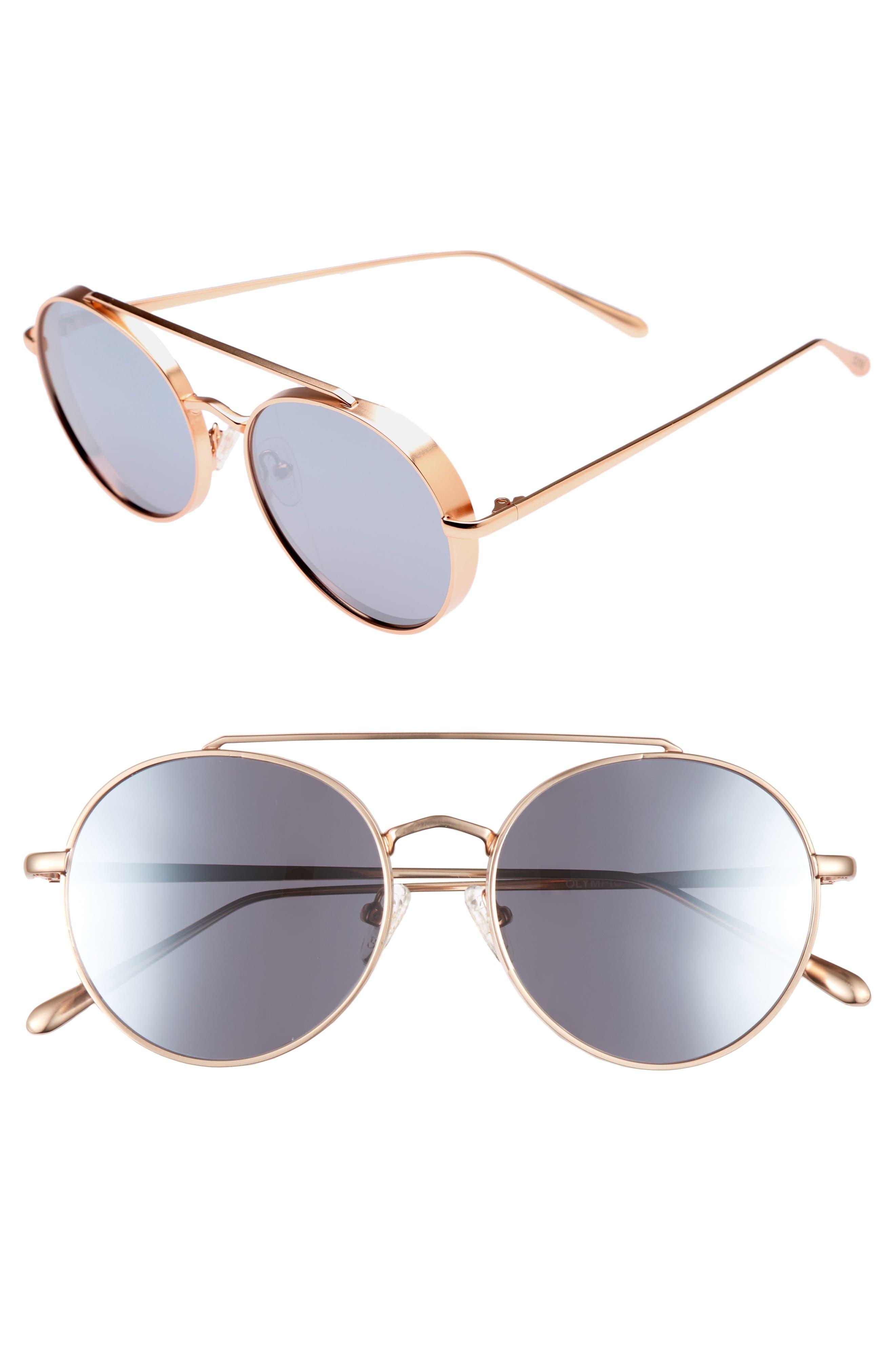 Olympic 53mm Polarized Aviator Sunglasses,                             Main thumbnail 1, color,                             Silver