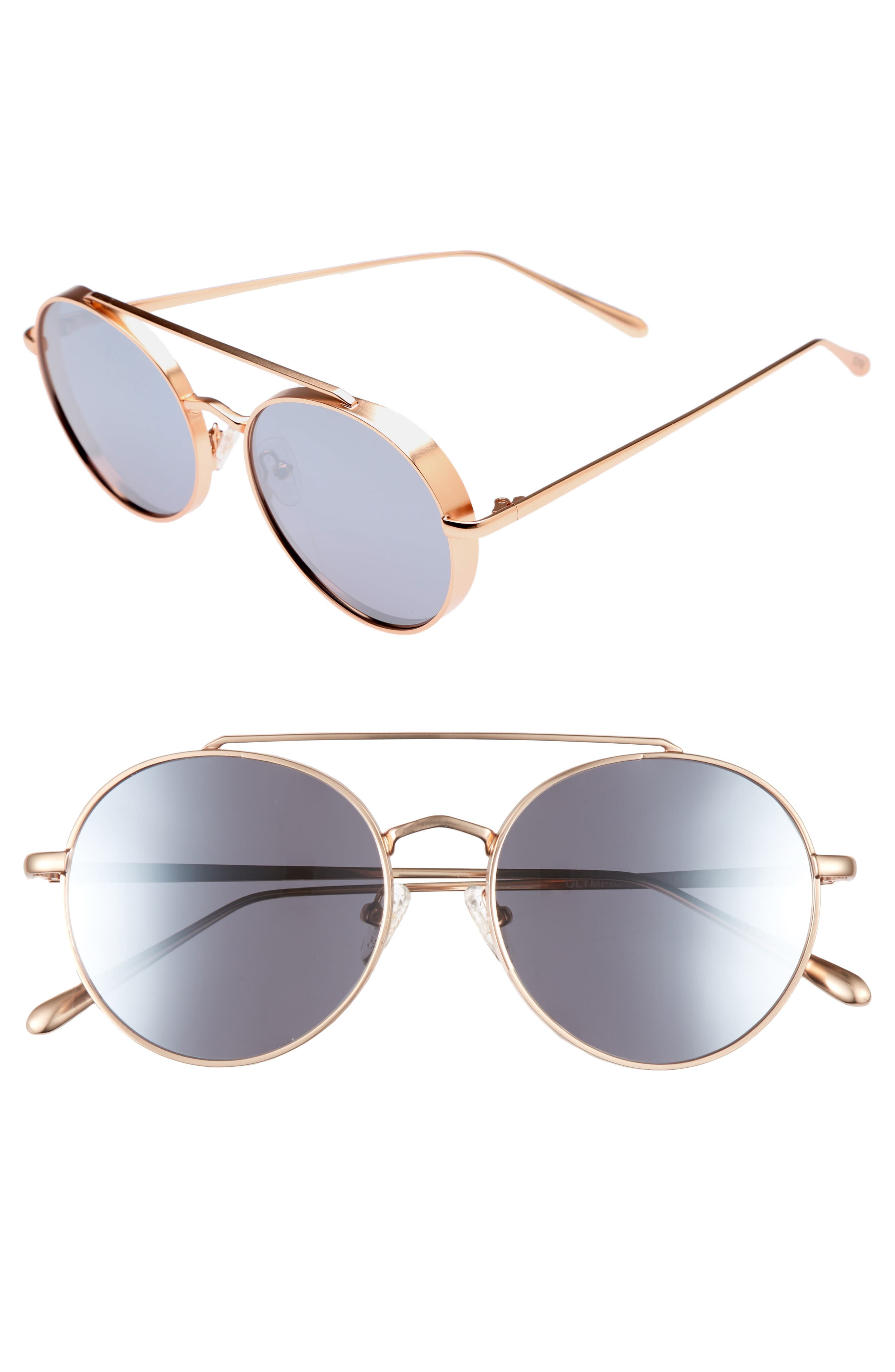 Olympic 53mm Polarized Aviator Sunglasses,                         Main,                         color, Silver