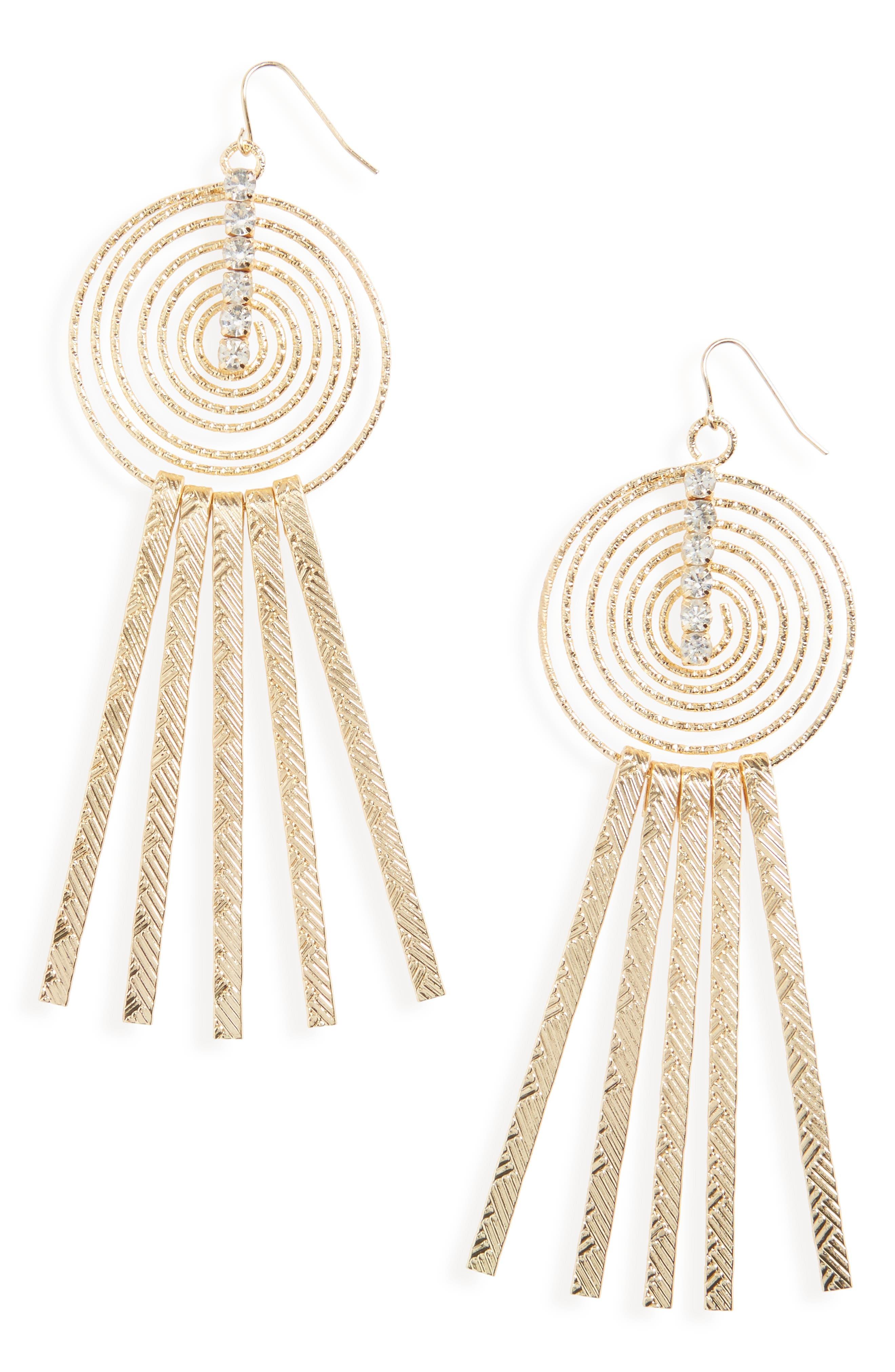 Swirly Sticks Drop Earrings,                         Main,                         color, Gold
