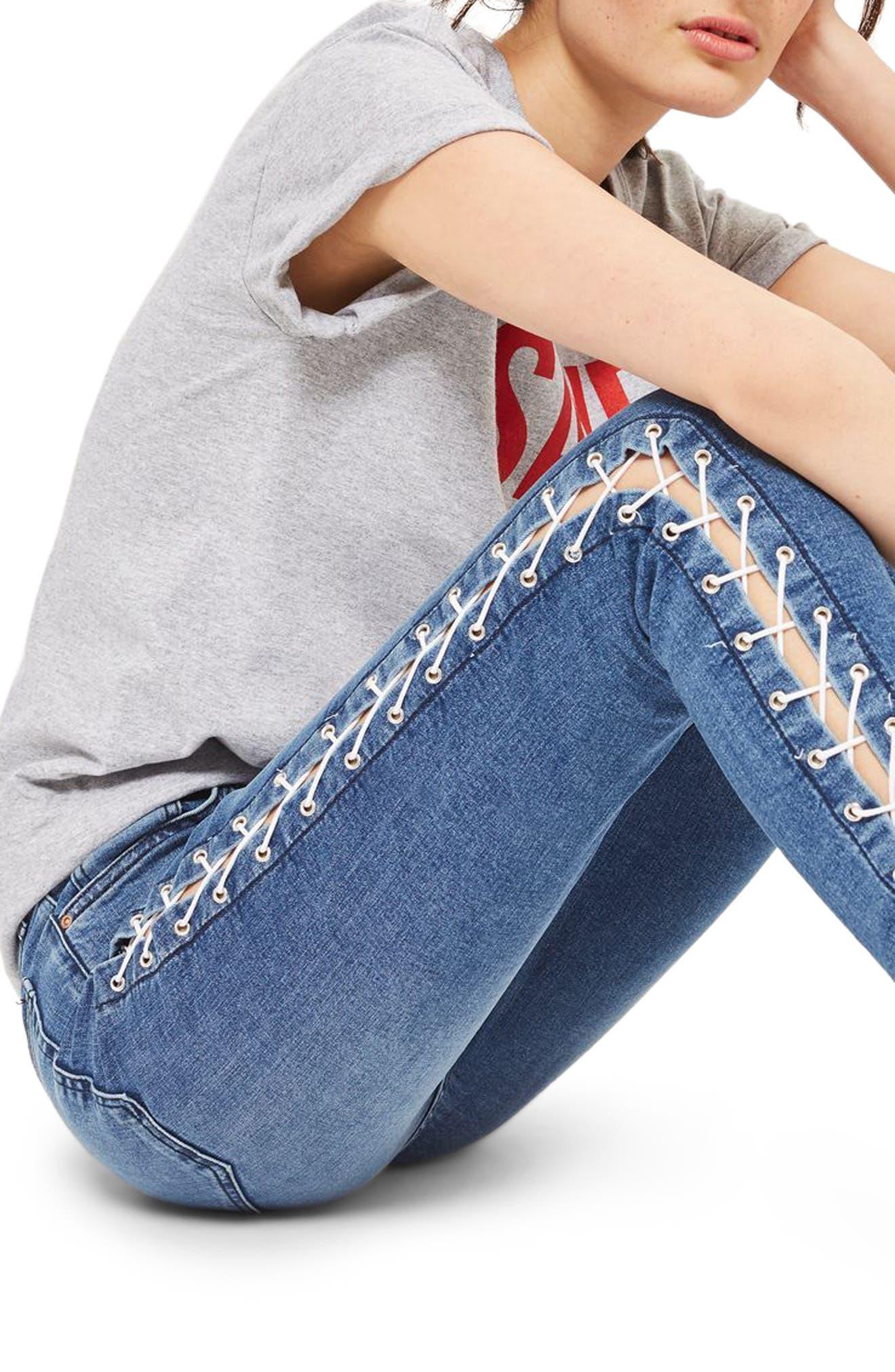 Alternate Image 3  - Topshop Jamie Side Lace-Up Ankle Skinny Jeans