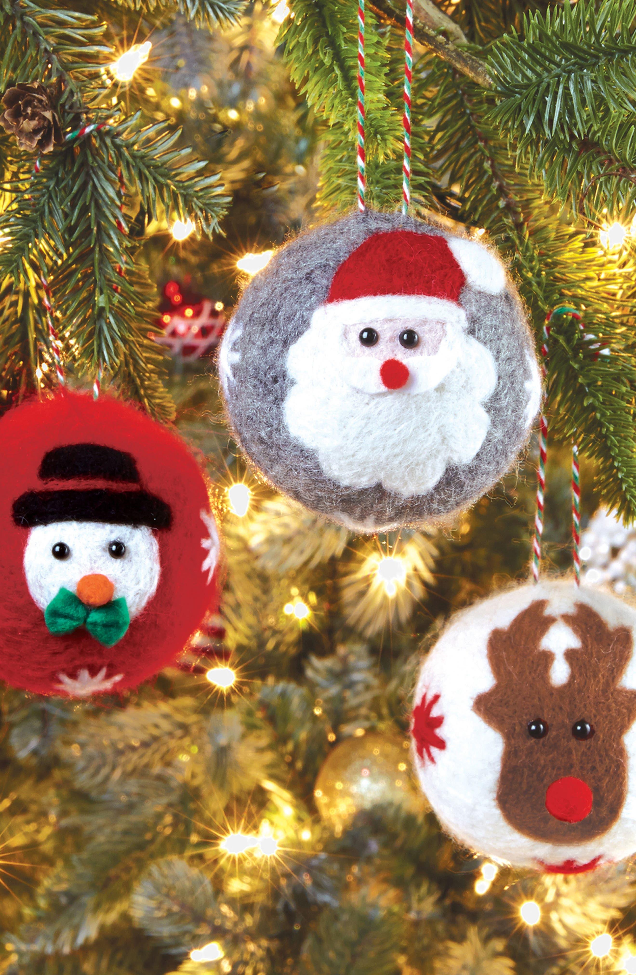 Alternate Image 2  - Mud Pie Boiled Wool Santa Ornament