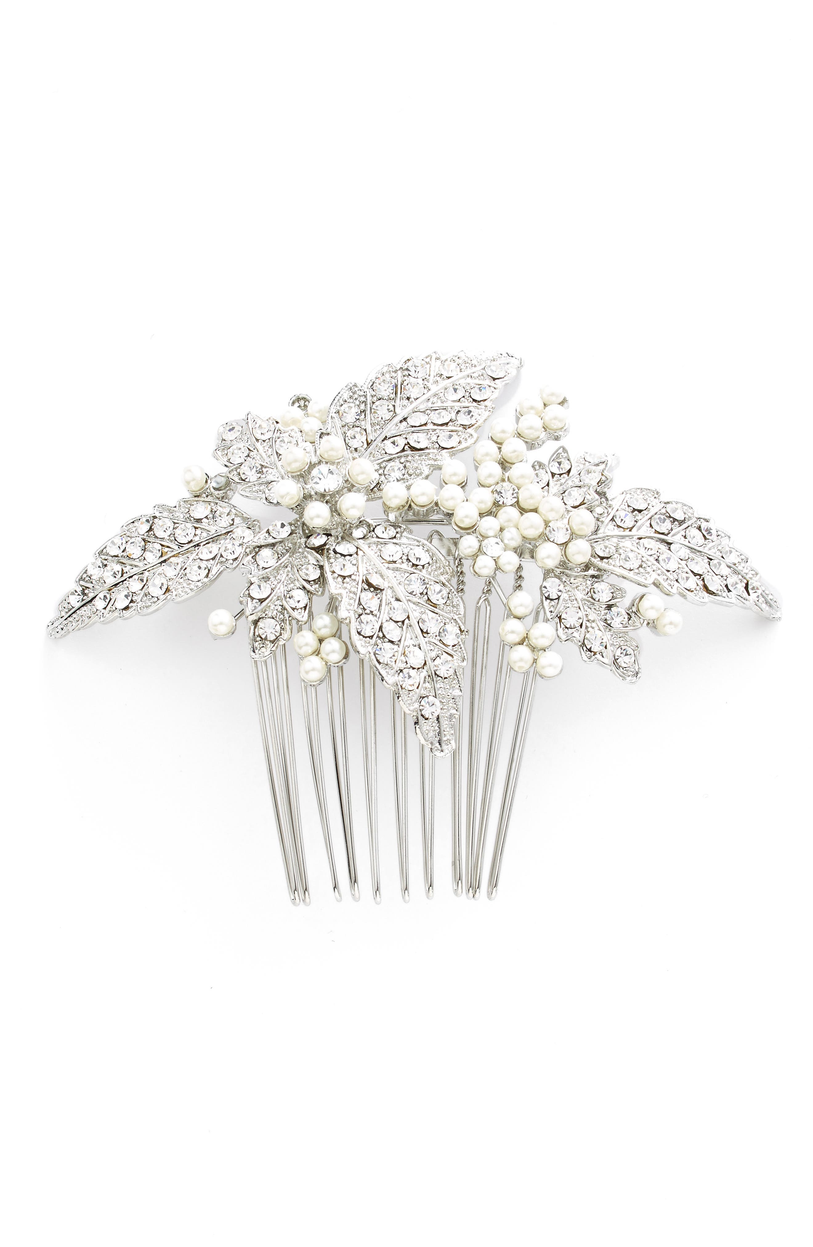 Glass Pearl Hair Comb,                         Main,                         color, Silver