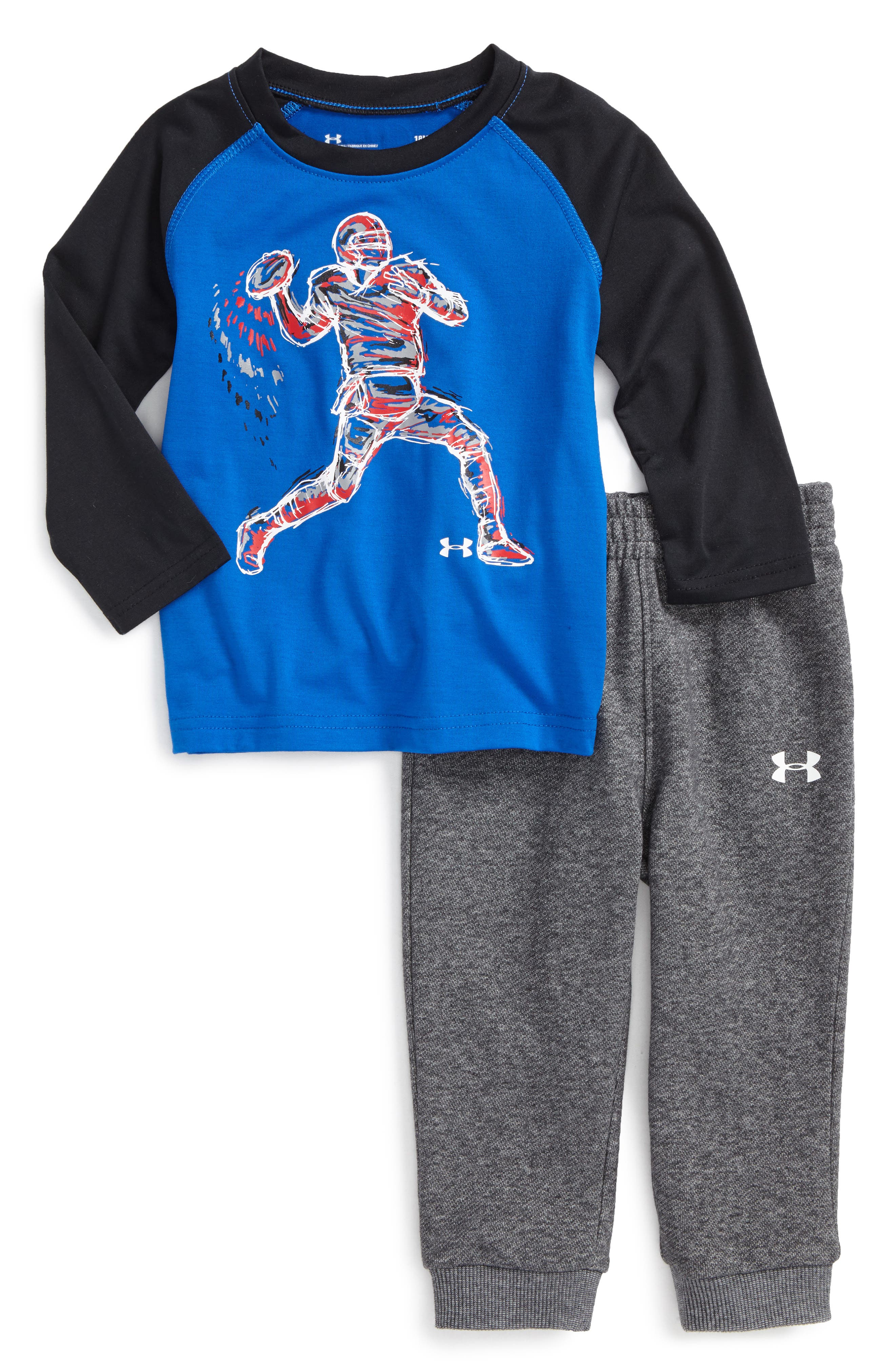 Main Image - Under Armour Illuminated QB Raglan T-Shirt & Sweatpants (Baby Boys)