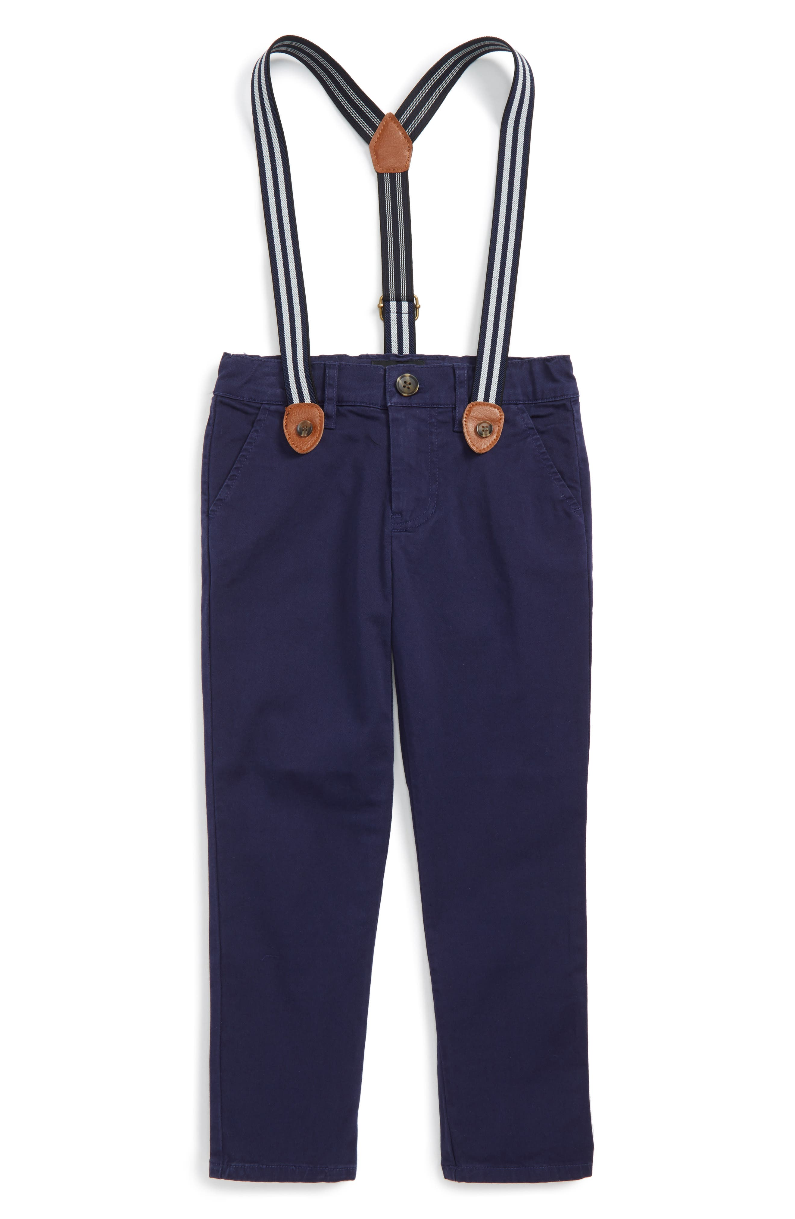 Chinos & Suspenders Set,                         Main,                         color, Midnight