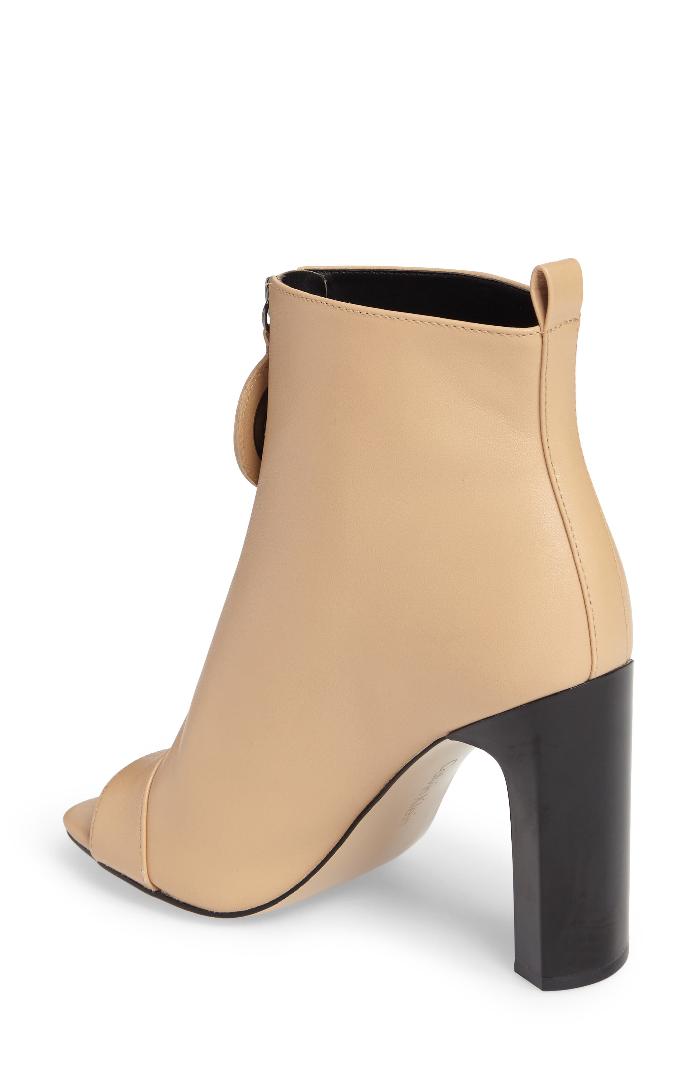 Minda Open Toe Bootie,                             Alternate thumbnail 2, color,                             Sandstrom Leather