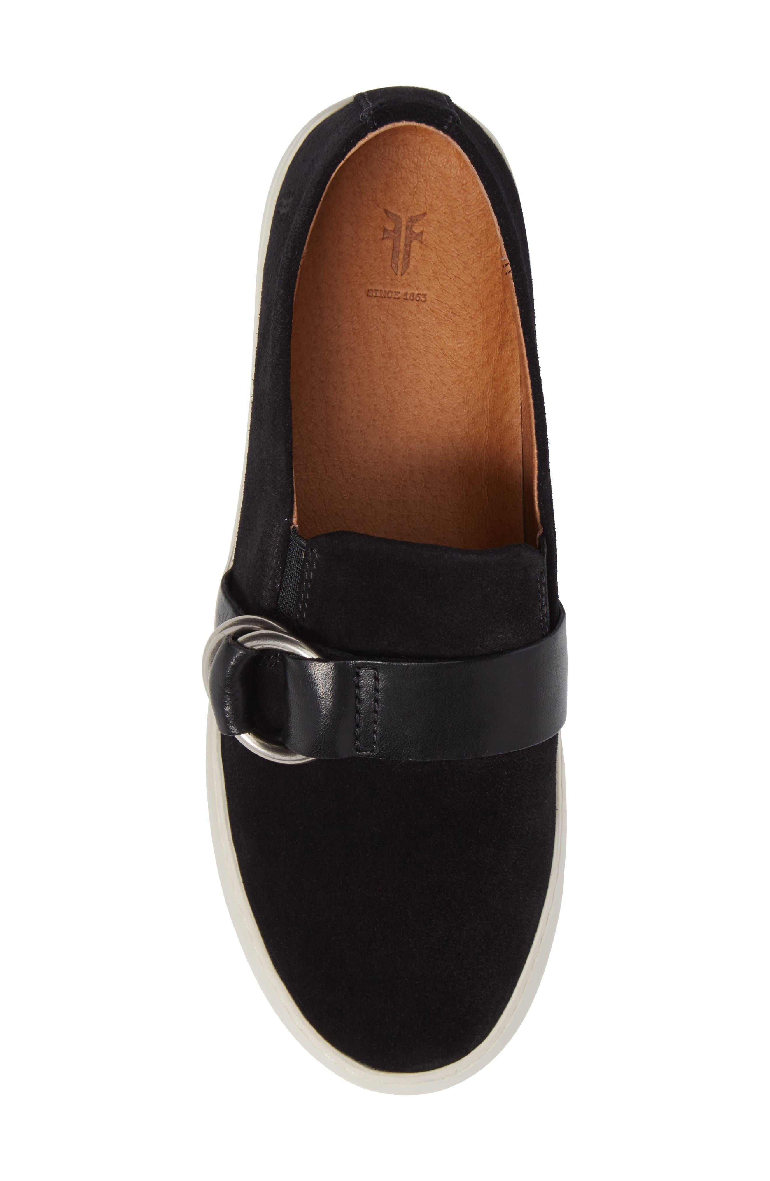 Lena Harness Slip-On Sneaker,                             Alternate thumbnail 5, color,                             Black