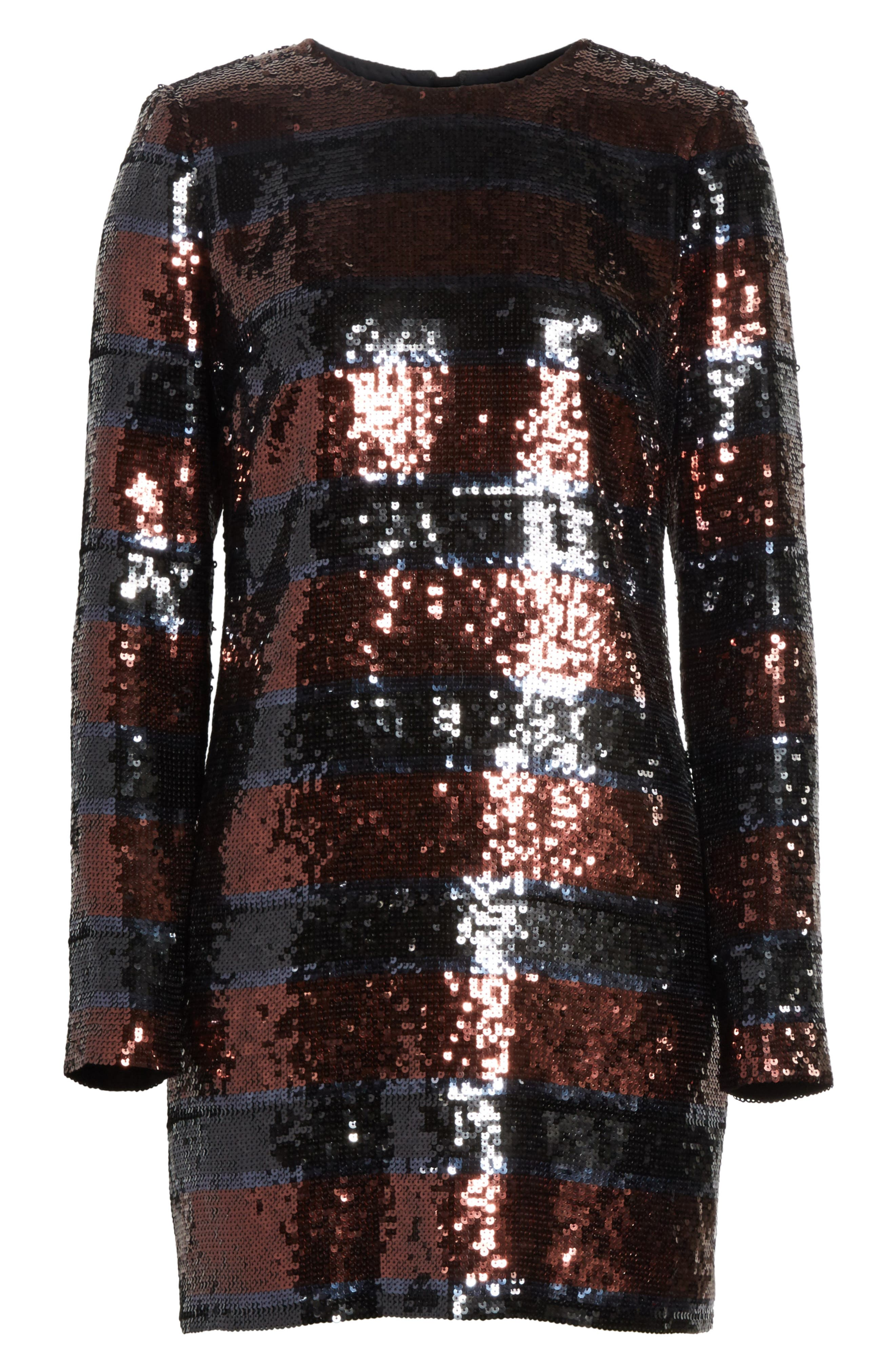 Breakers Sequin Dress,                             Alternate thumbnail 6, color,                             Dark Red/ Black