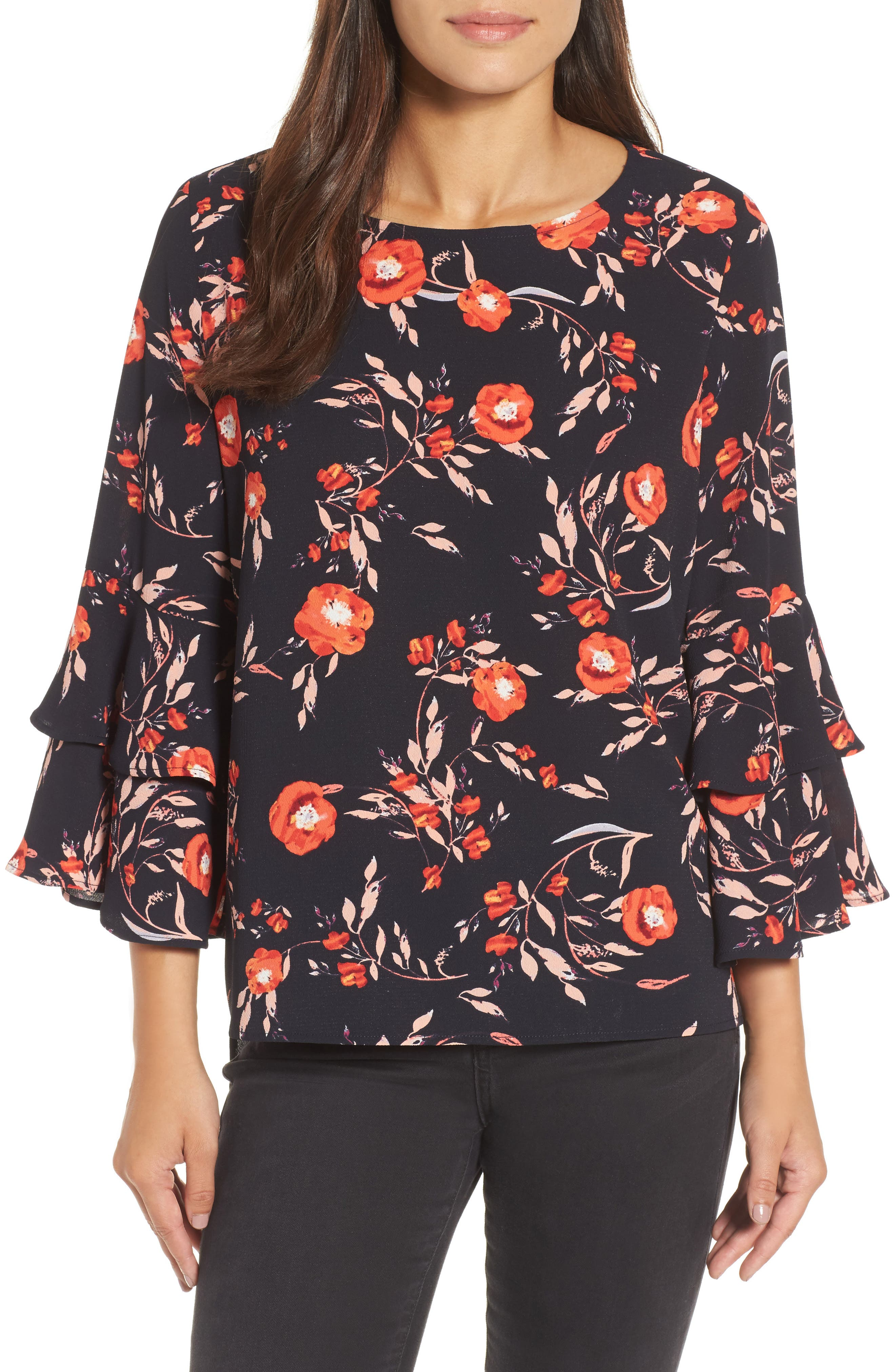 Alternate Image 1 Selected - Gibson Ruffle Bell Sleeve High/Low Tunic
