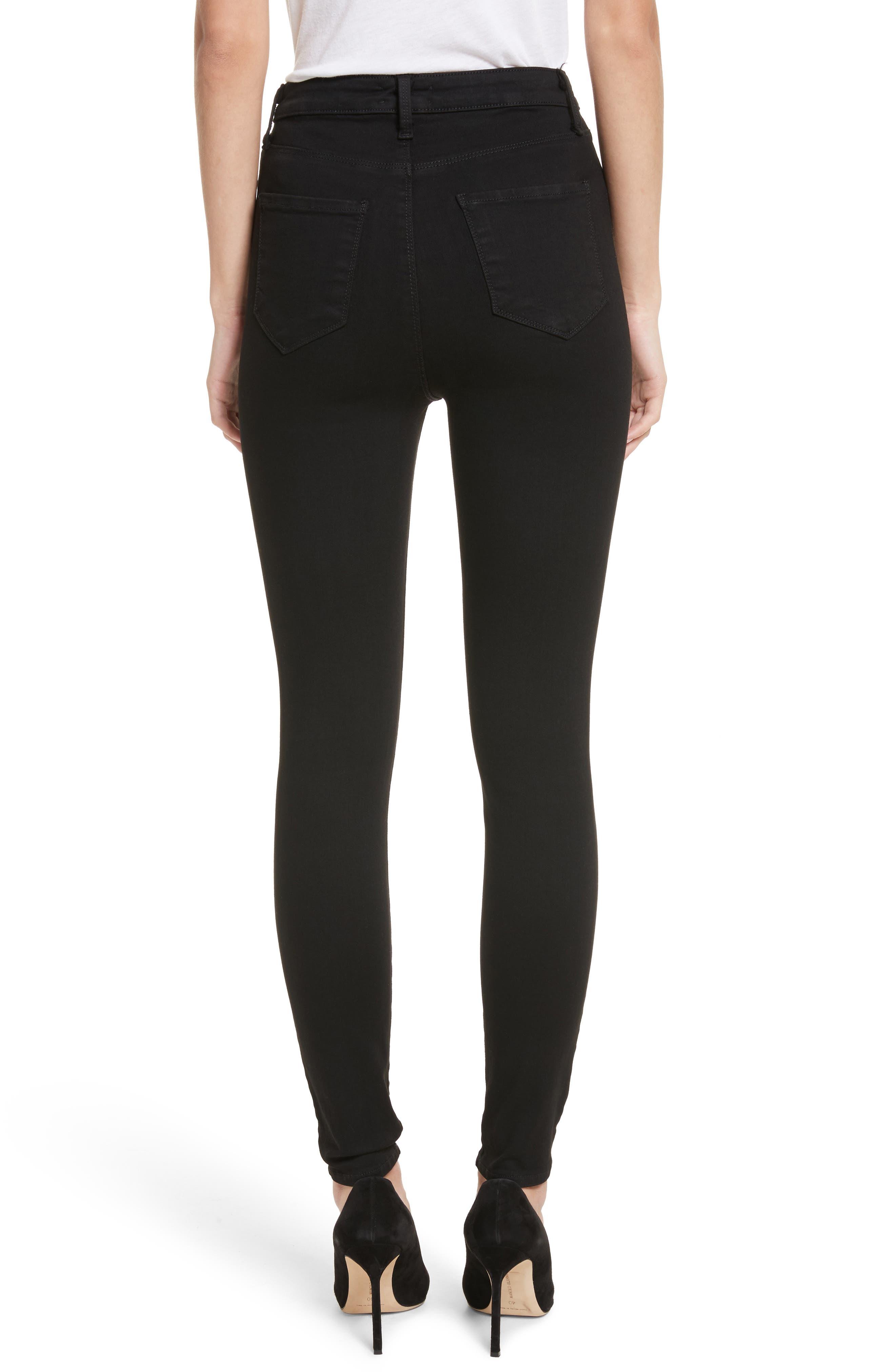 Katrina Ultra High Waist Skinny Jeans,                             Alternate thumbnail 2, color,                             Noir