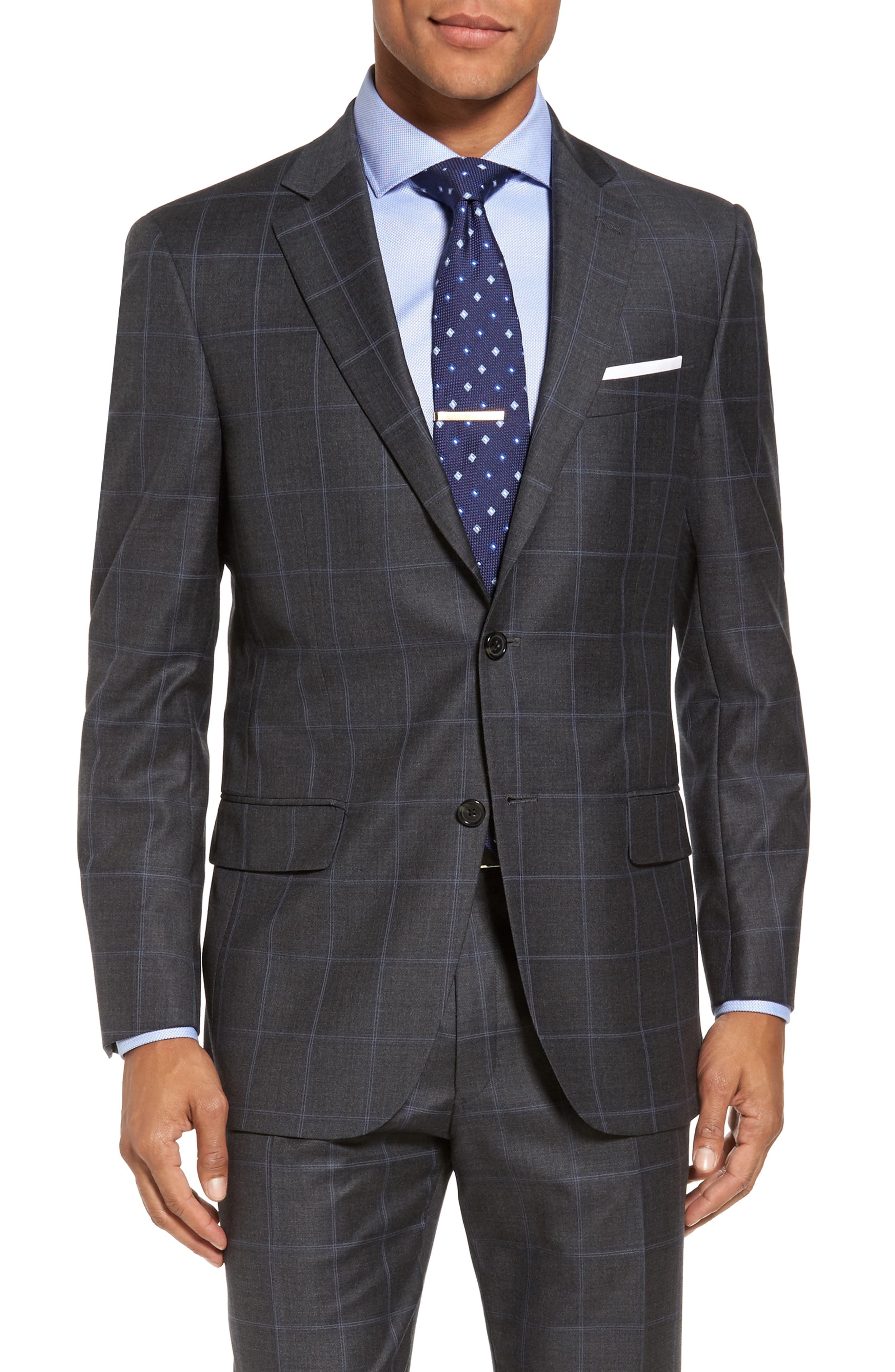 Classic Fit Plaid Wool Suit,                             Alternate thumbnail 5, color,                             Dark Grey