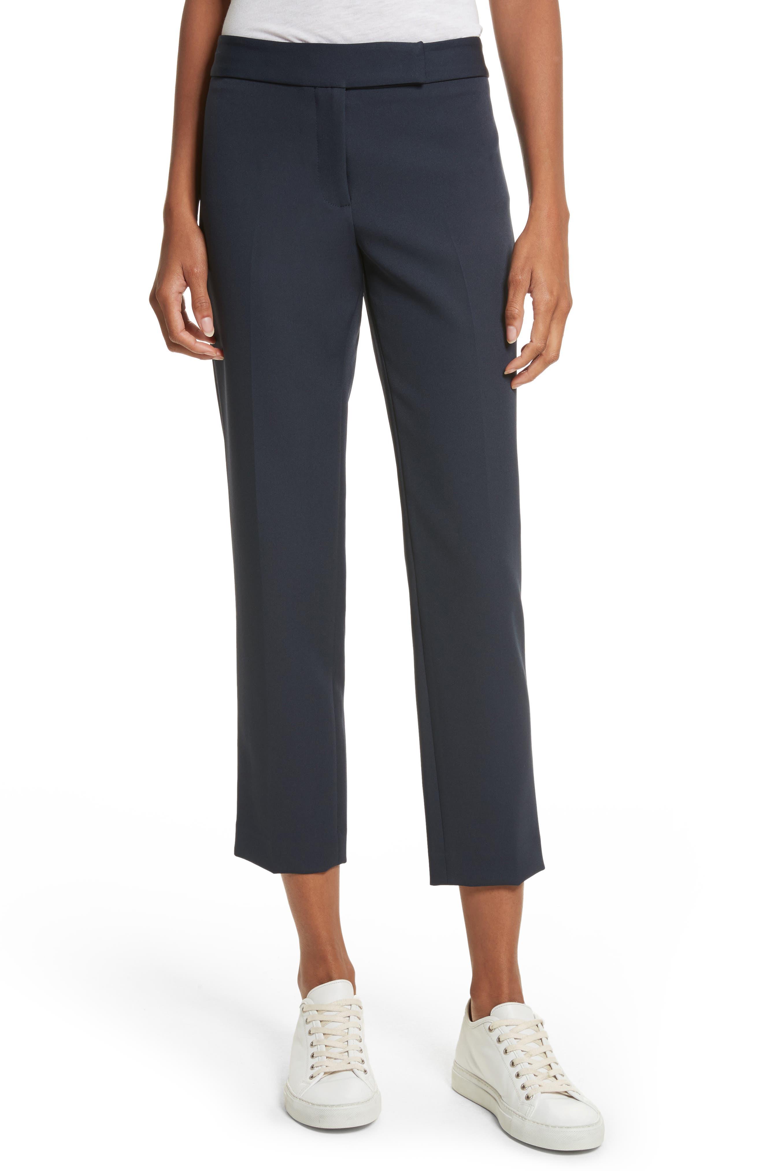 Stretch Crepe Cigarette Pants,                         Main,                         color, Navy