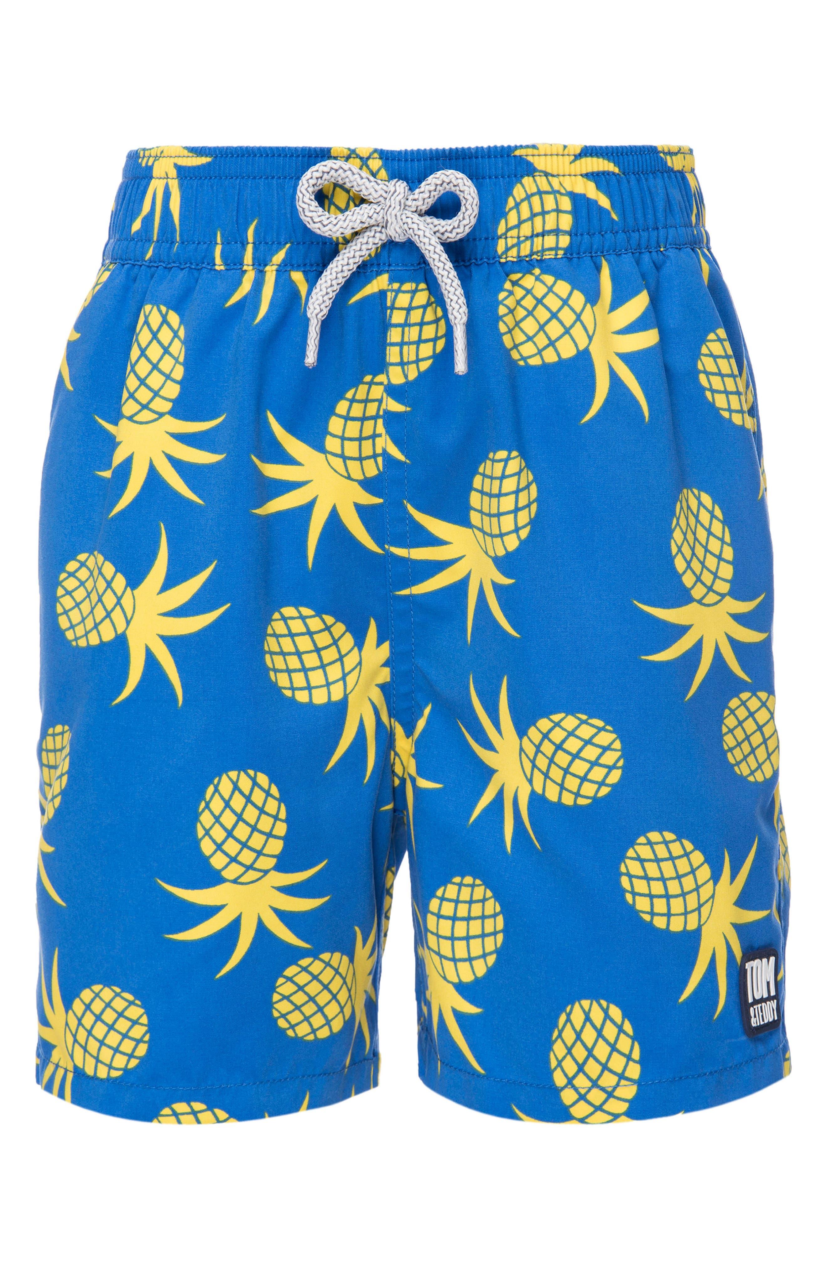Main Image - Tom & Teddy Pineapple Swim Trunks (Toddler Boys, Little Boys & Big Boys)