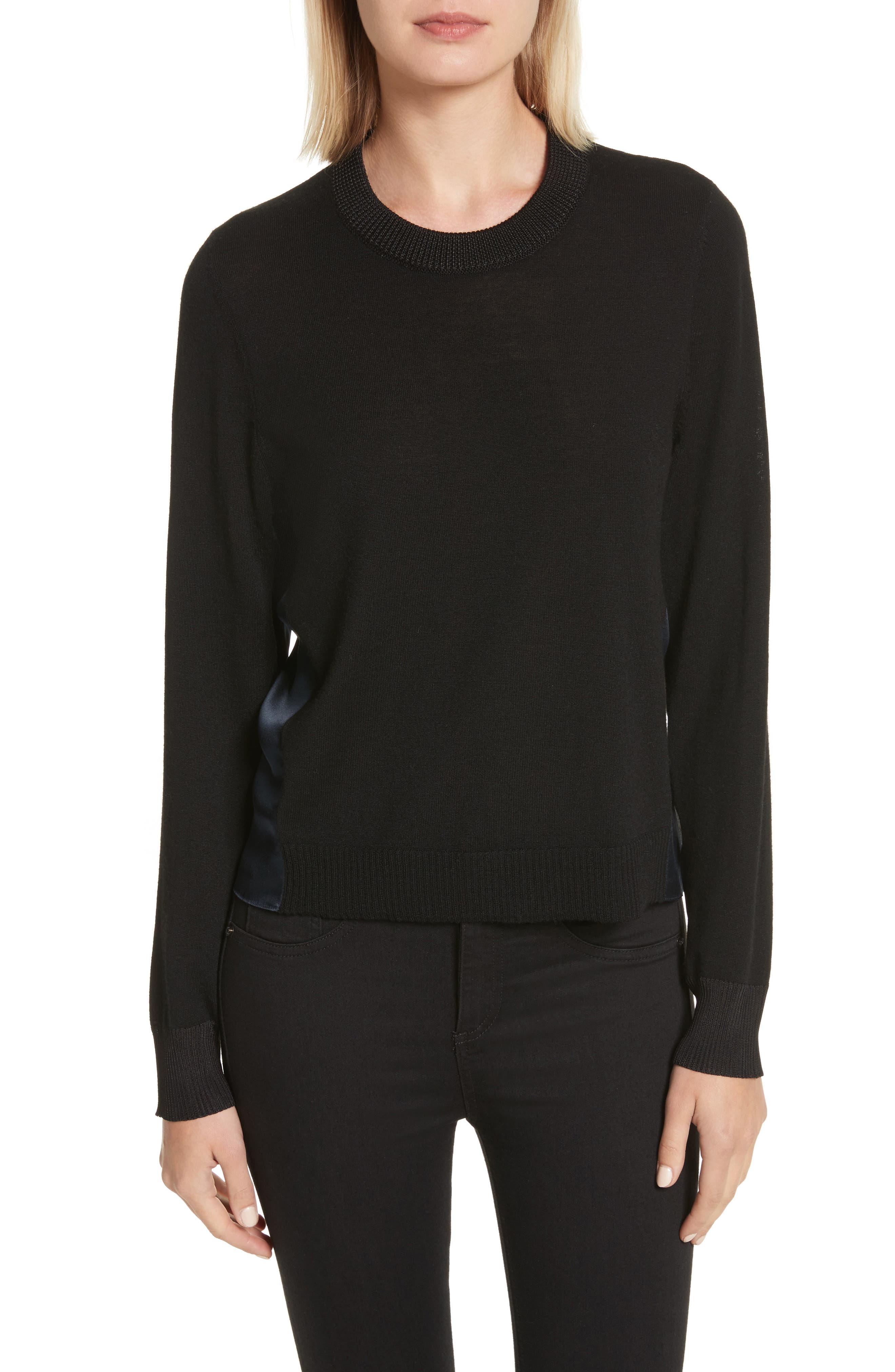Sadie Merino Wool Blend & Silk Sweater,                             Main thumbnail 1, color,                             Black