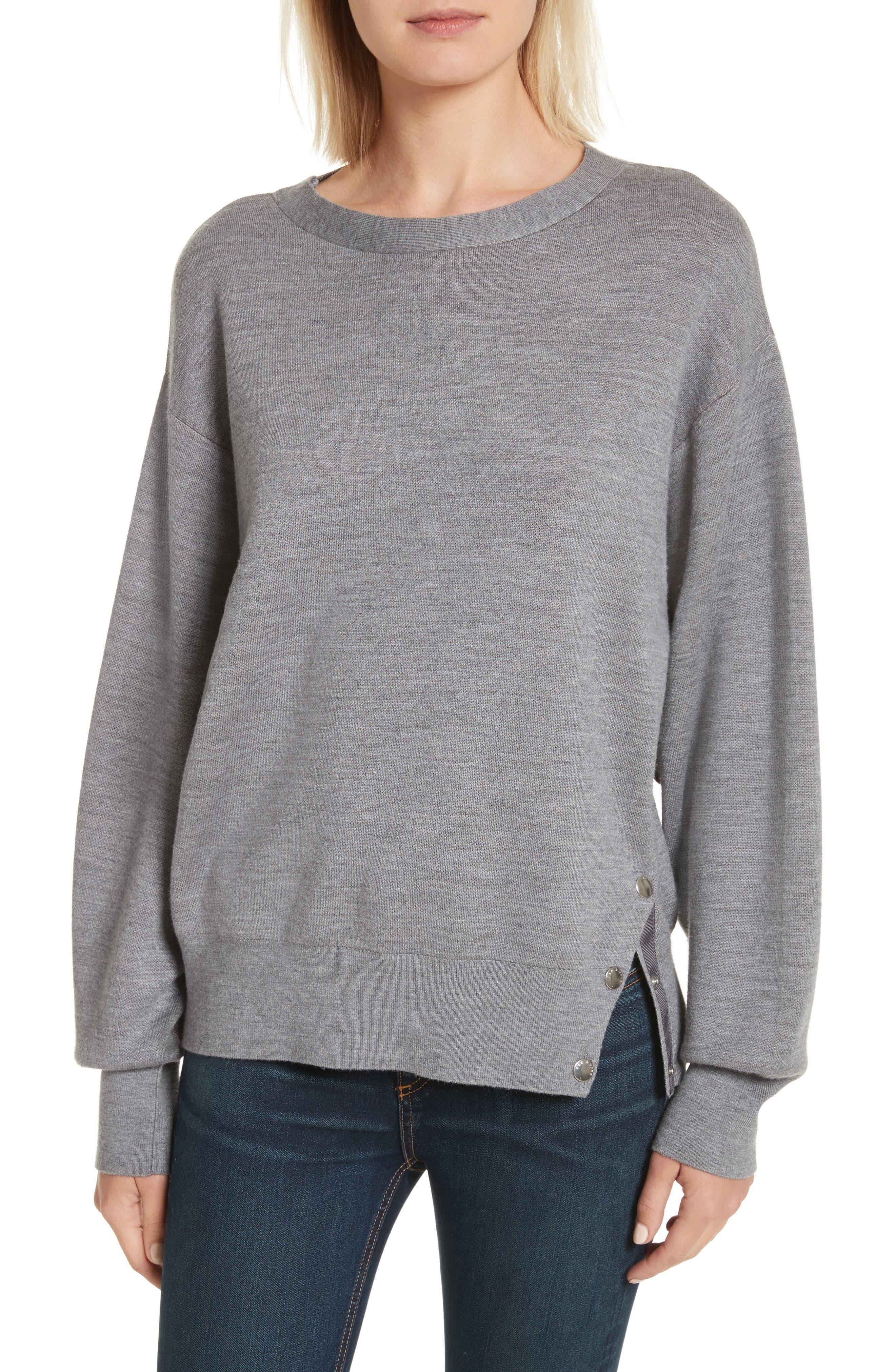 Saralyn Merino Wool & Cotton Blend Crewneck Sweater,                         Main,                         color, Grey