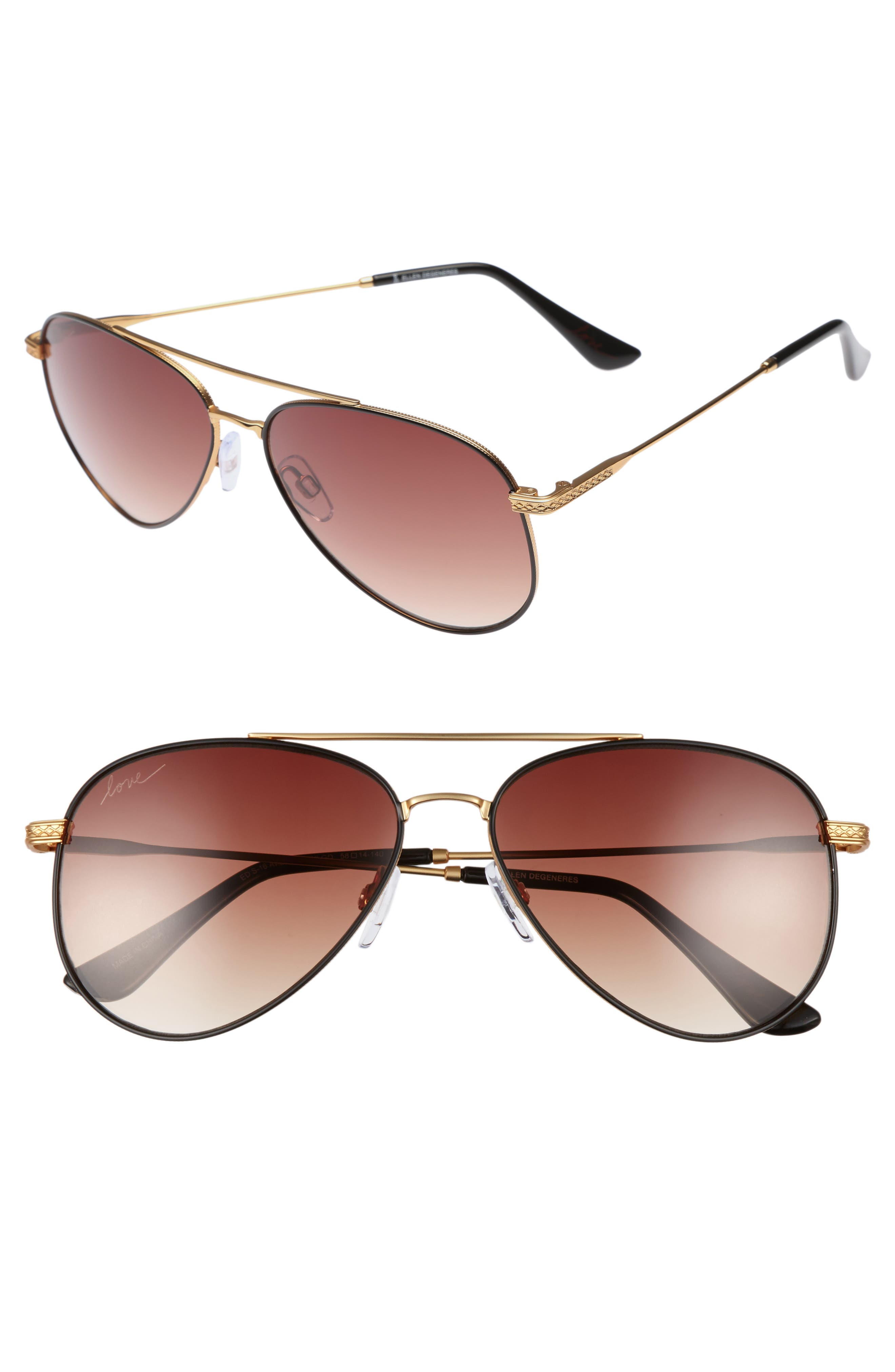 Main Image - ED Ellen DeGeneres 58mm Aviator Sunglasses