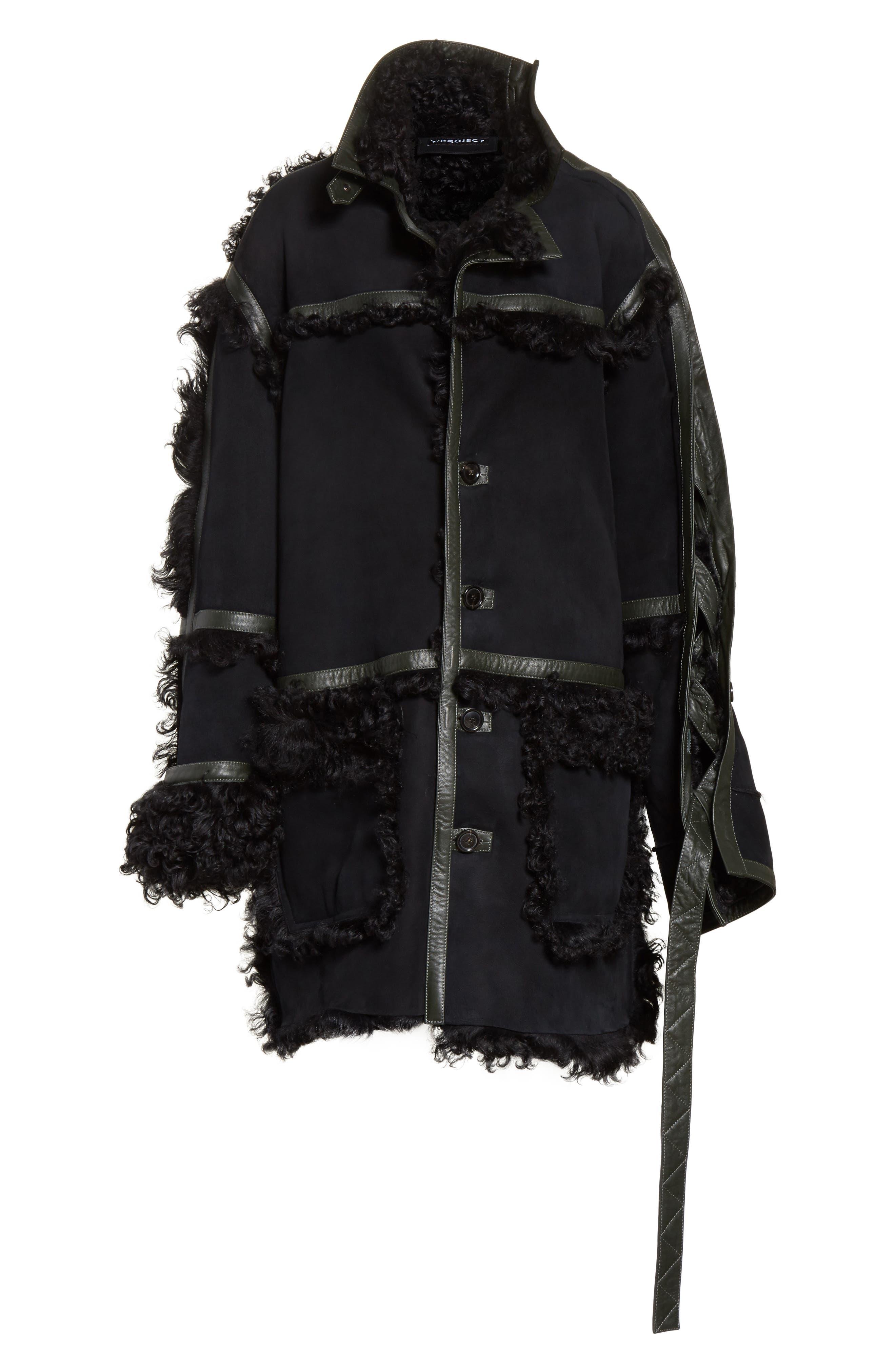 Genuine Shearling Coat,                             Alternate thumbnail 7, color,                             Noir