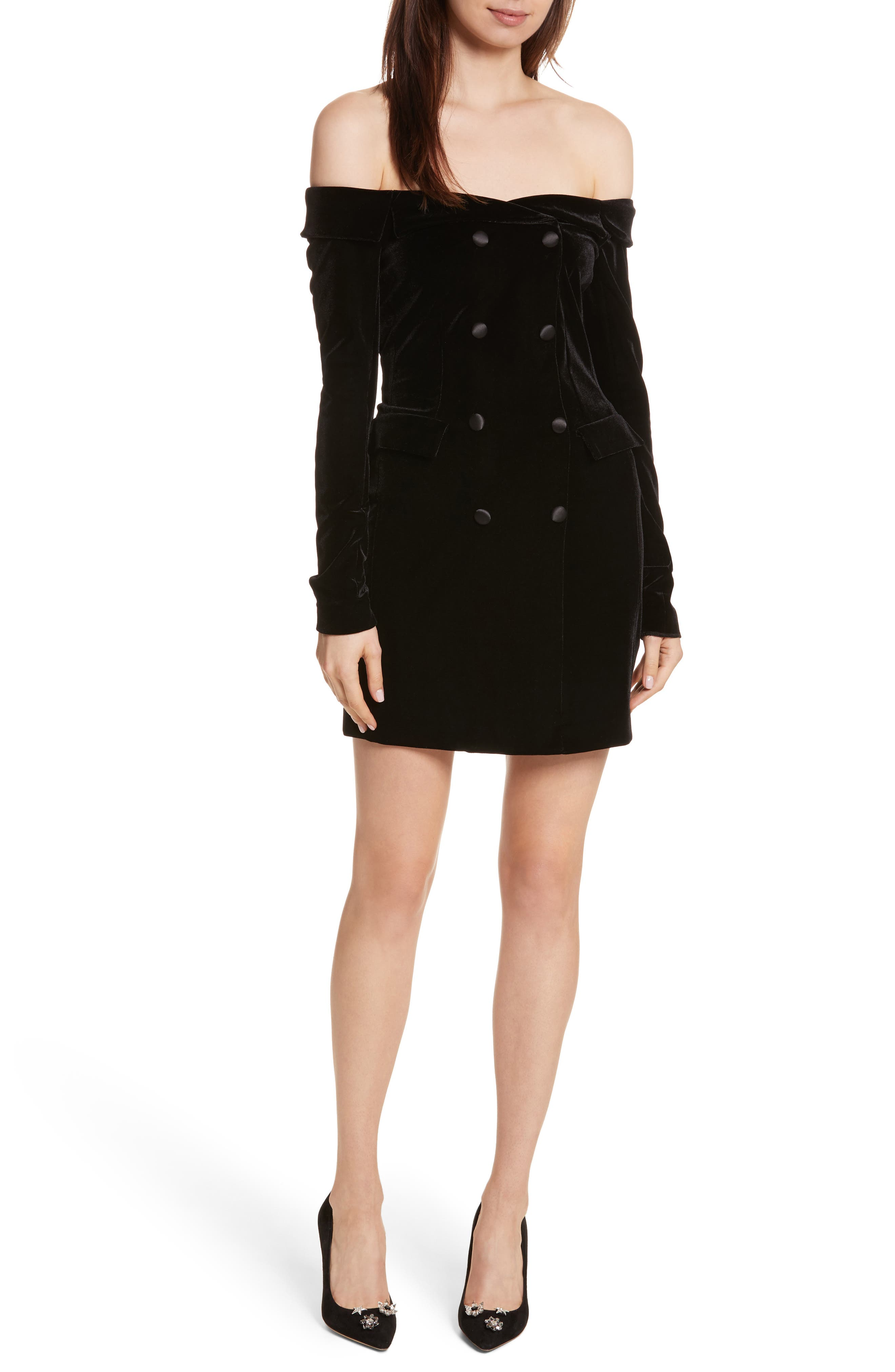 Velvet Jacket Dress,                             Main thumbnail 1, color,                             Black