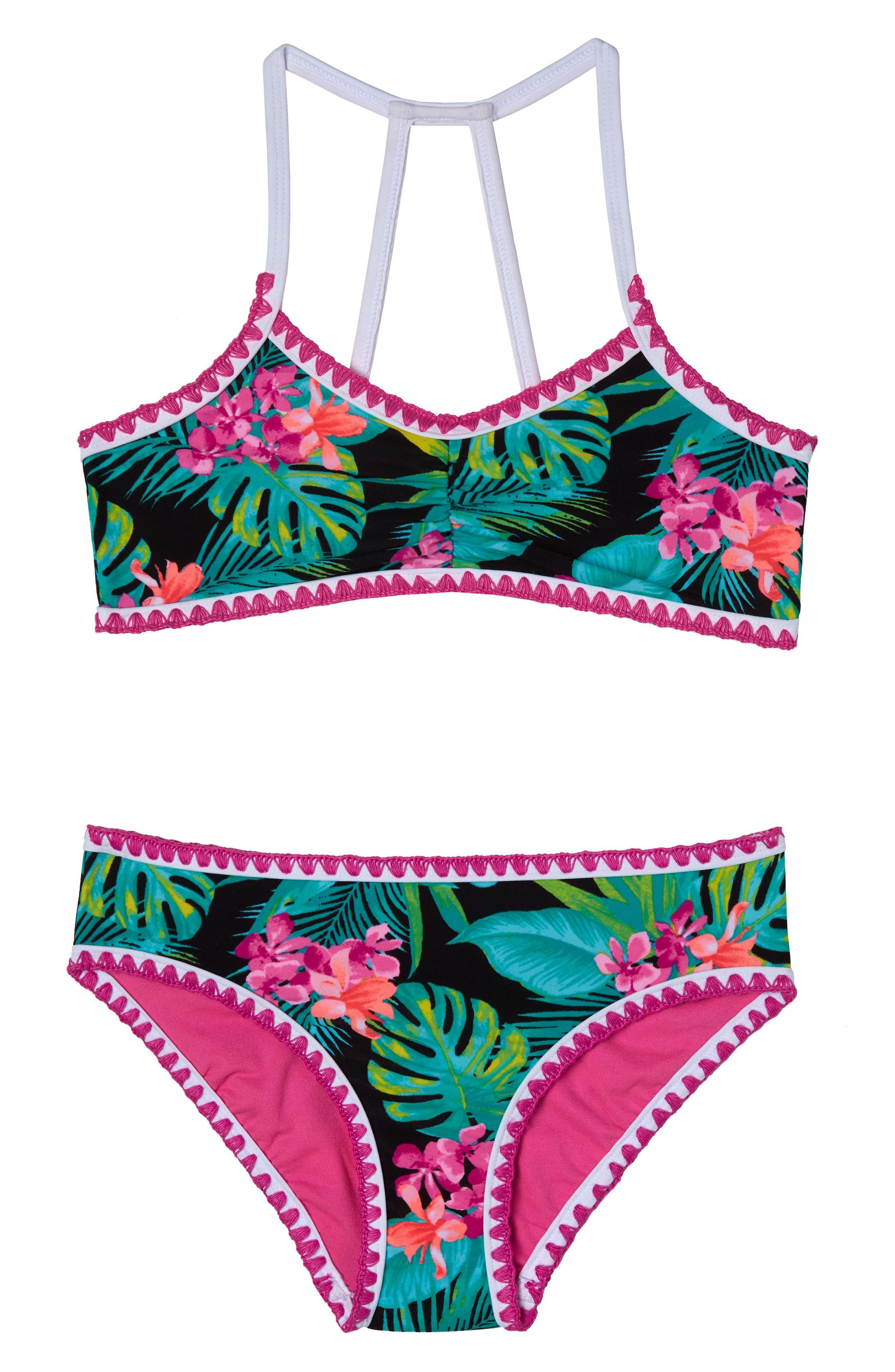 Tropical Escape Two-Piece Swimsuit,                         Main,                         color, Black
