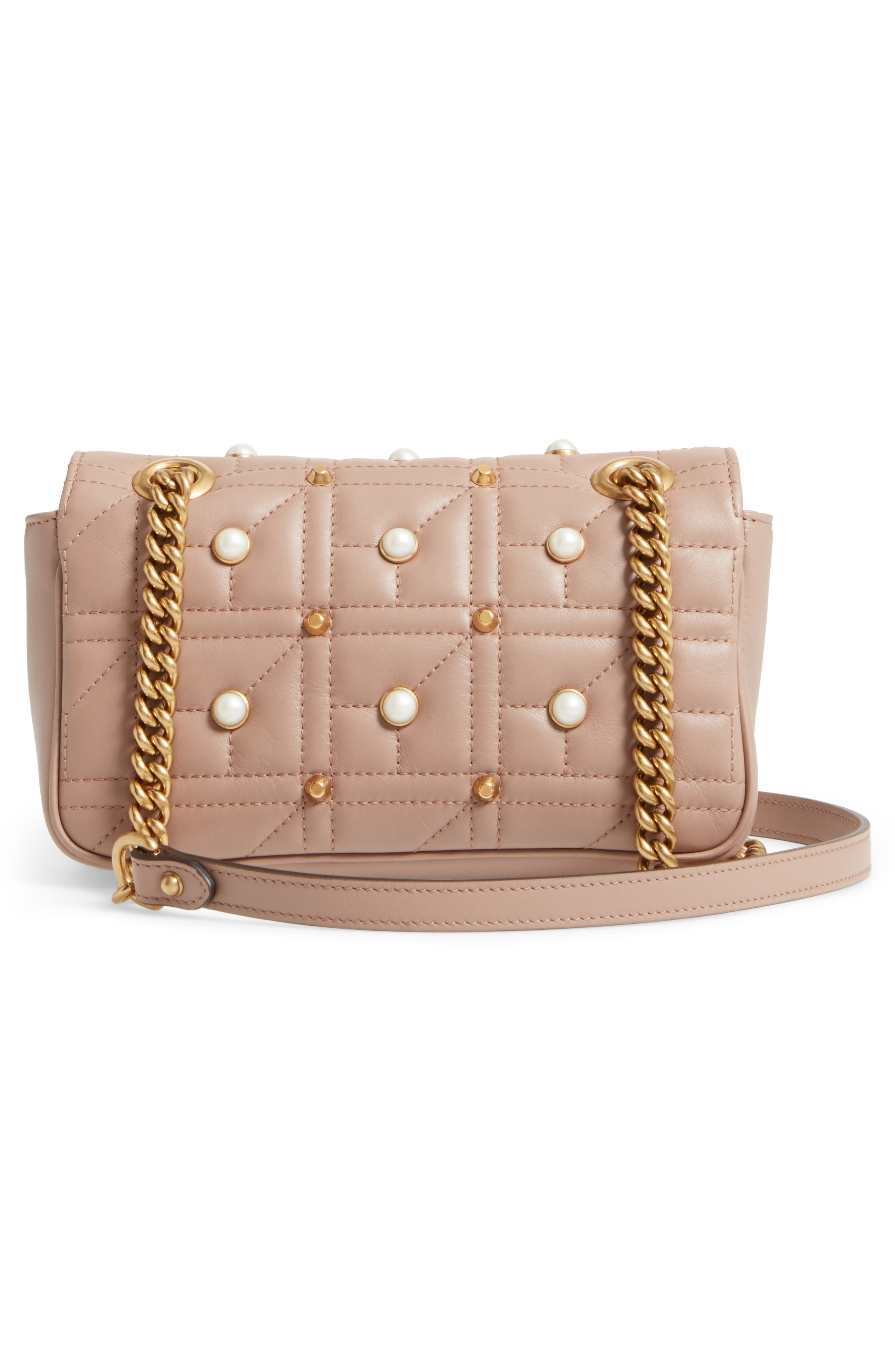 Alternate Image 3  - Gucci Mini GG Marmont 2.0 Imitation Pearl Logo Matelassé Leather Shoulder Bag