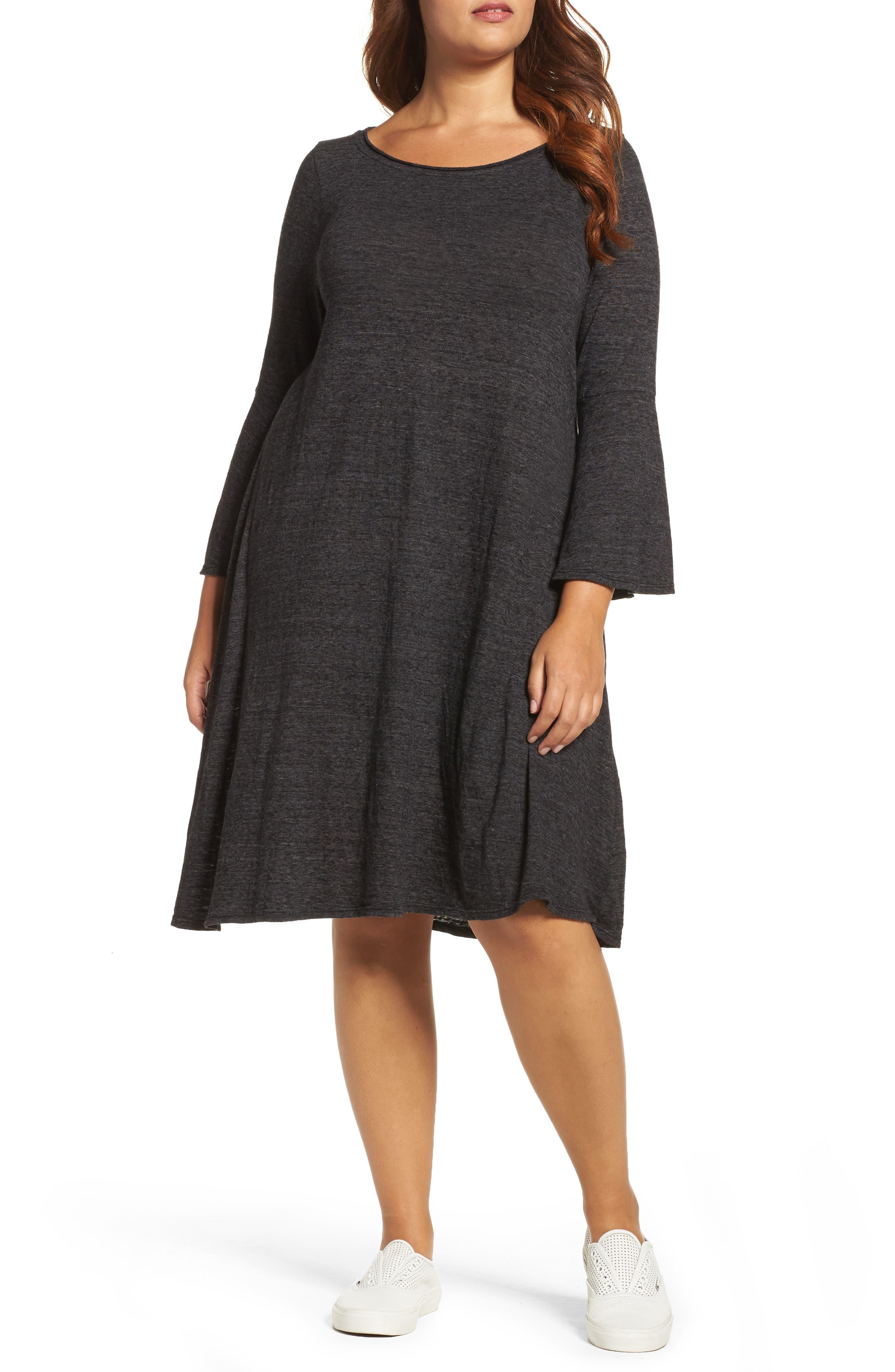 Nepps Bell Sleeve Dress,                         Main,                         color, Black