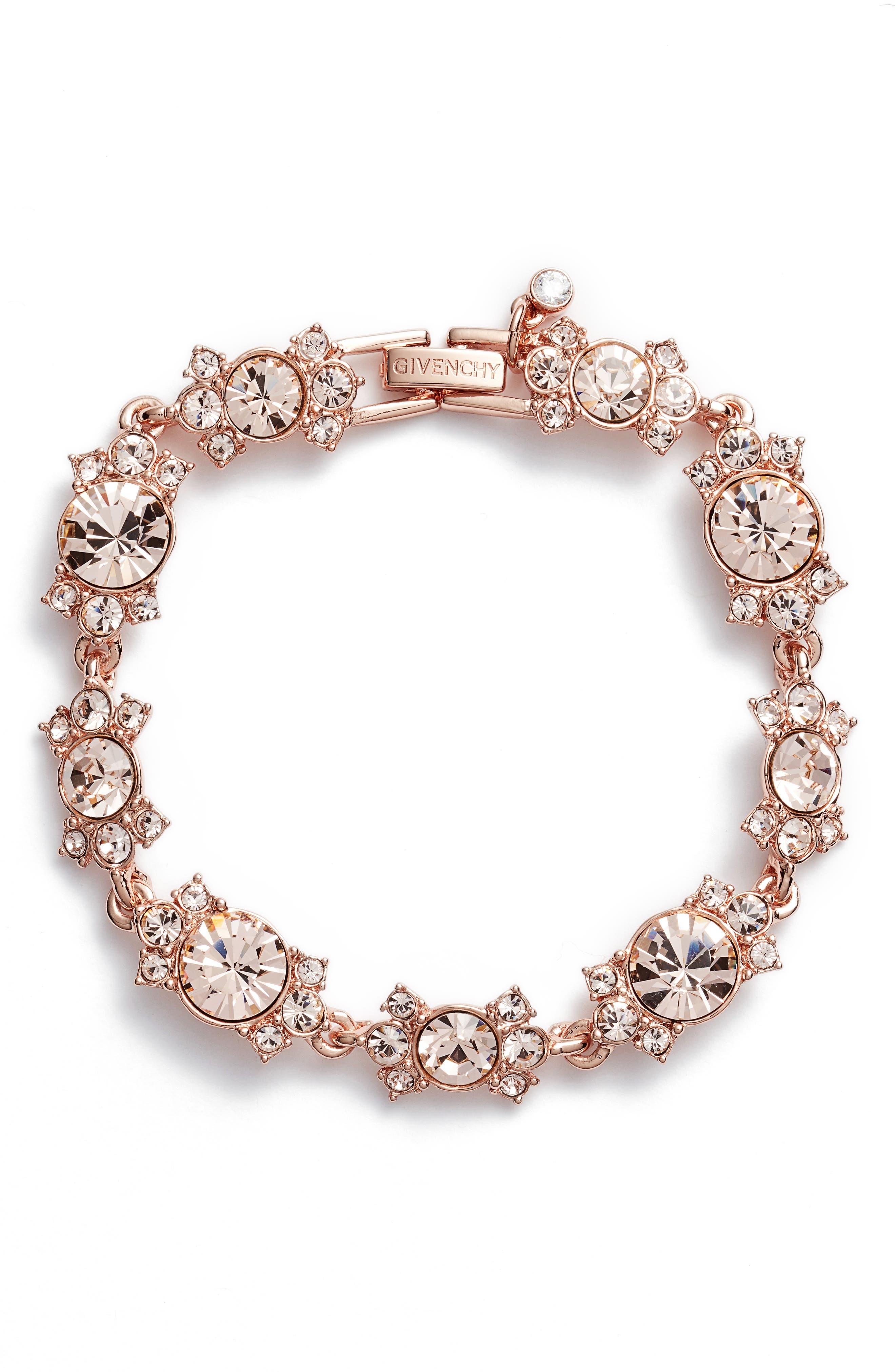 Crystal Bracelet,                         Main,                         color, Silk/ Rose Gold