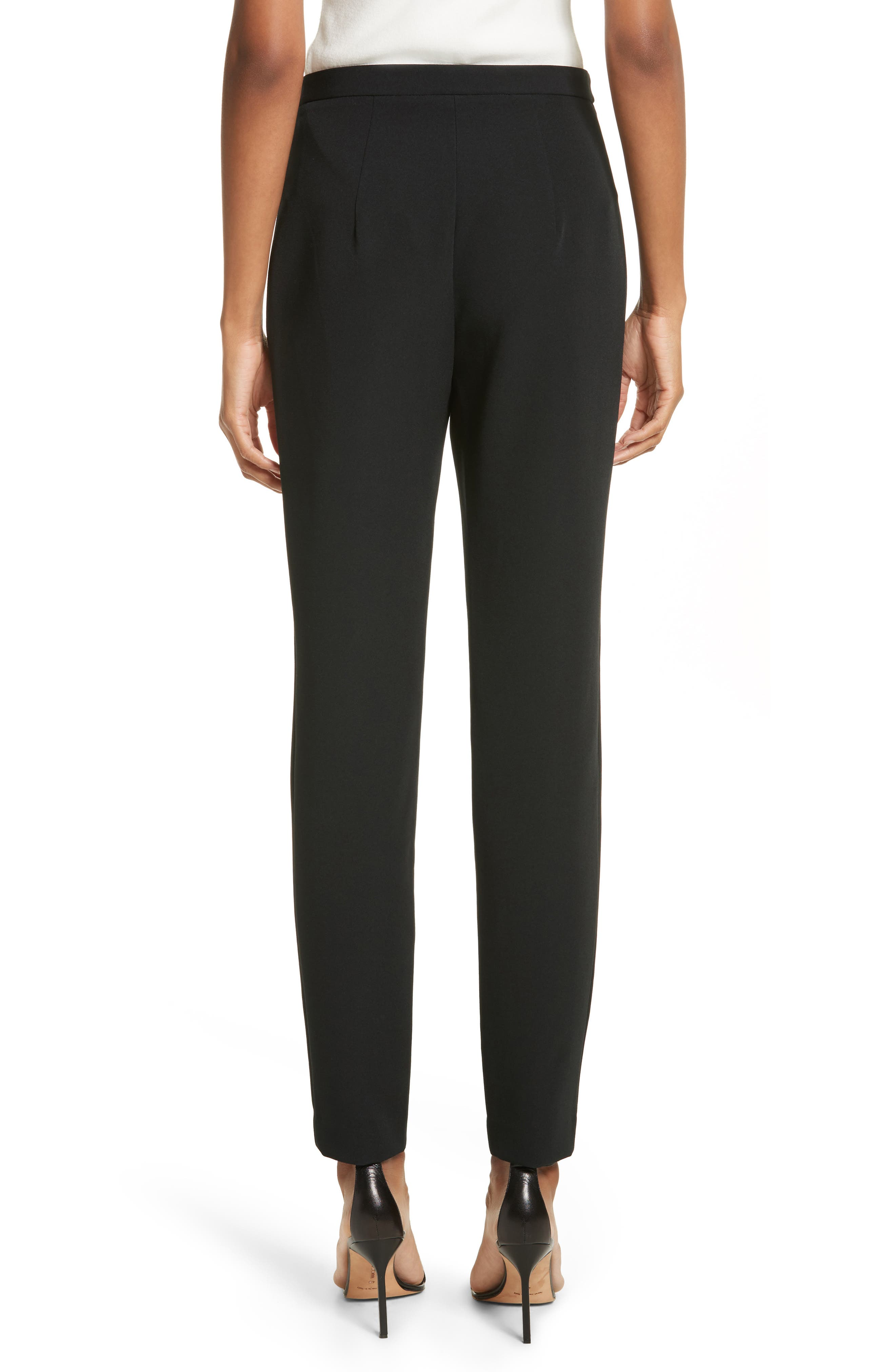 Stretch Crepe High Waist Skinny Pants,                             Alternate thumbnail 2, color,                             Black