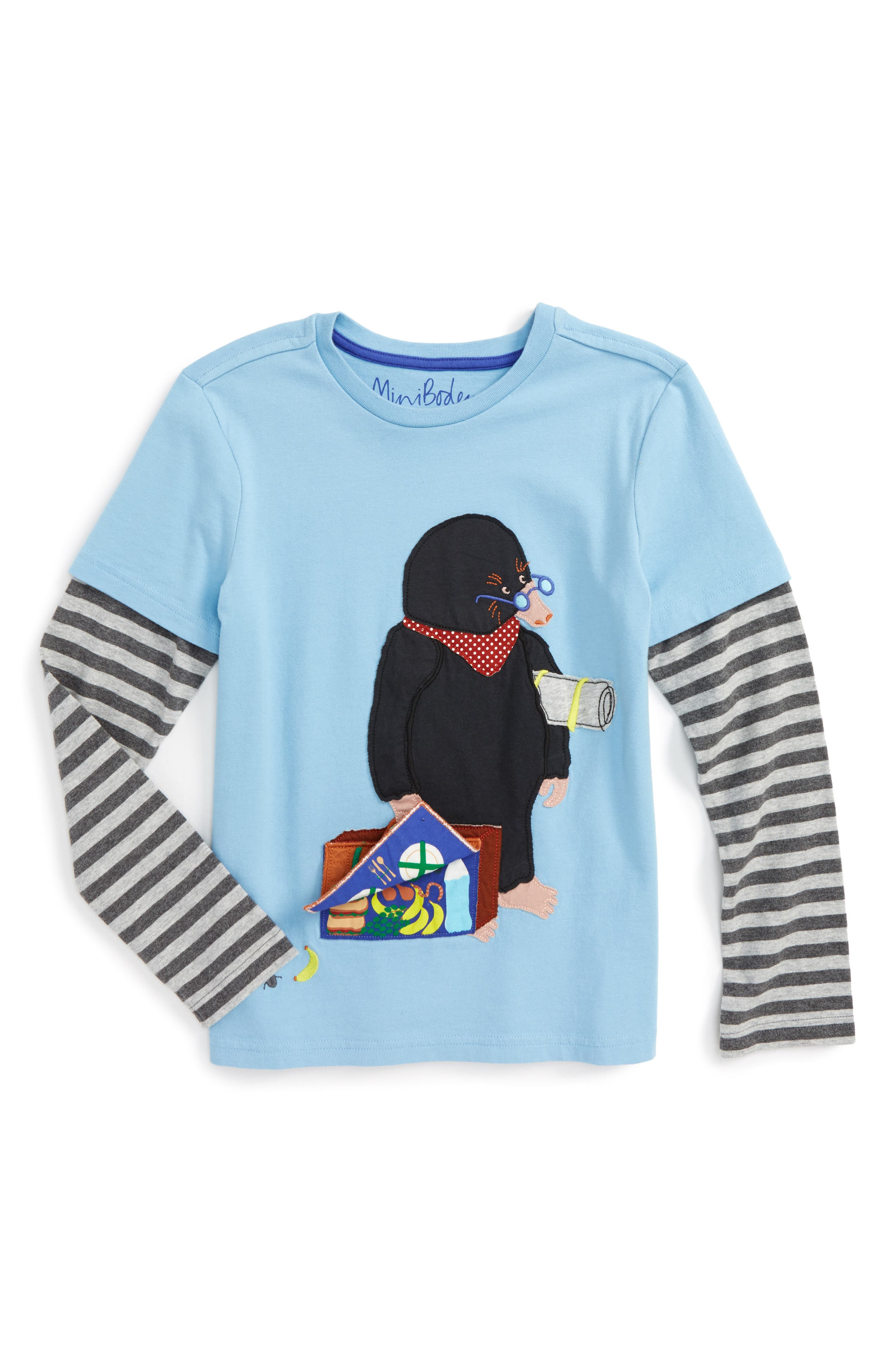 Layered Fun Animal Long Sleeve T-Shirt,                         Main,                         color, Light Sky Blue Mole