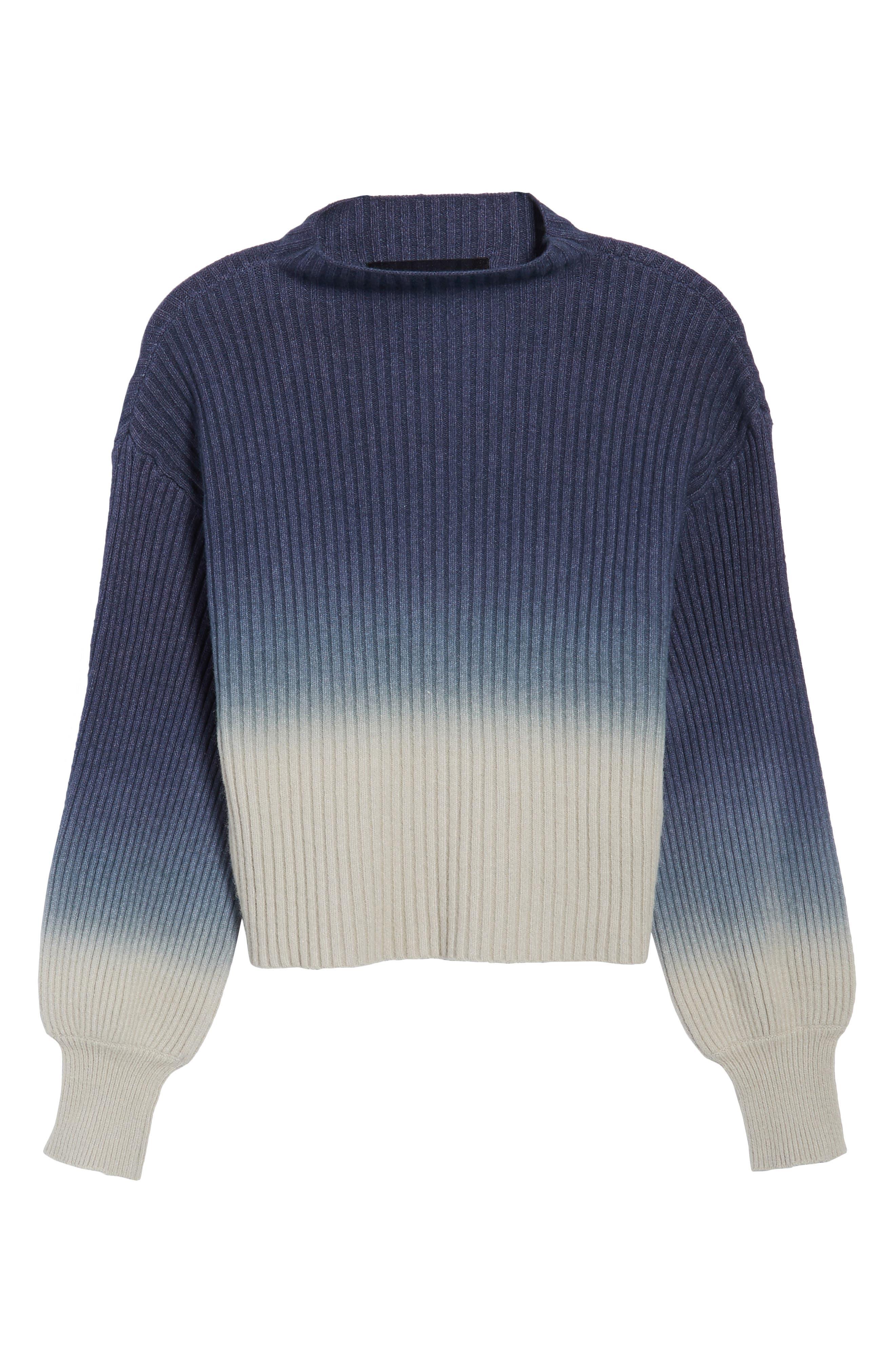 Ombré Sweater,                             Alternate thumbnail 6, color,                             Blue/ White